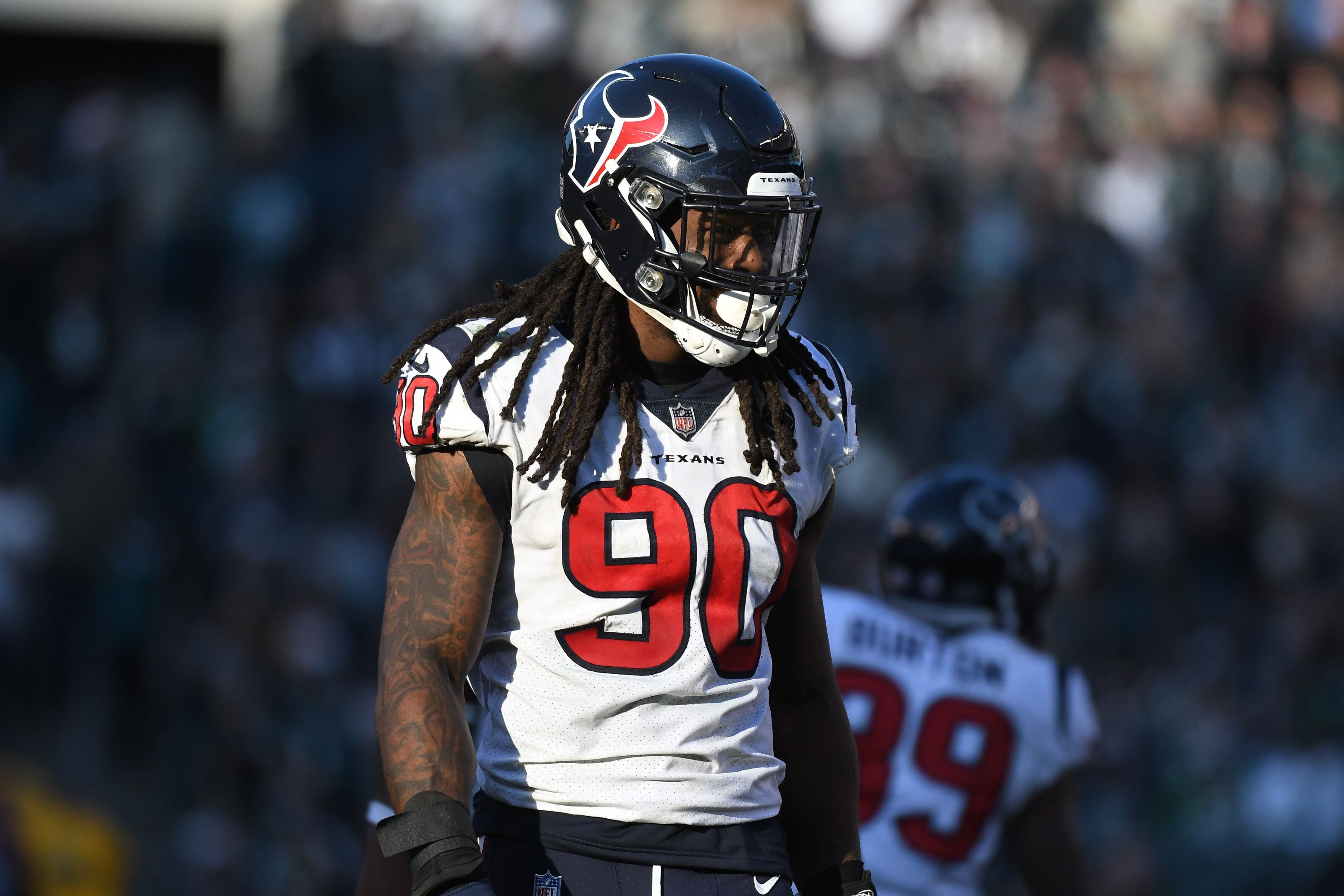 PHILADELPHIA, PA - DECEMBER 23: Houston Texans Linebacker Jadeveon Clowney (90) looks on during the game between the Houston Texans and the Philadelphia Eagles on December 23, 2018, at Lincoln Financial Field in Philadelphia,PA. (Photo by Andy Lewis/Icon Sportswire via Getty Images)