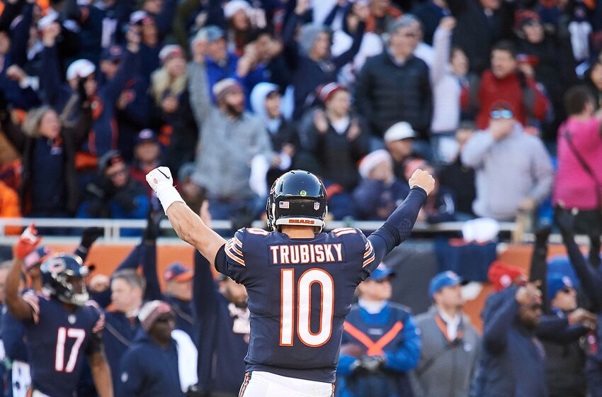 CHICAGO, IL - DECEMBER 16: Chicago Bears quarterback Mitchell Trubisky (10) celebrates with fans and teammates after throwing the football for a touchdown in action during an NFL game between the Green Bay Packers and the Chicago Bears on December 16, 2018 at Soldier Field in Chicago, IL. (Photo by Robin Alam/Icon Sportswire via Getty Images)