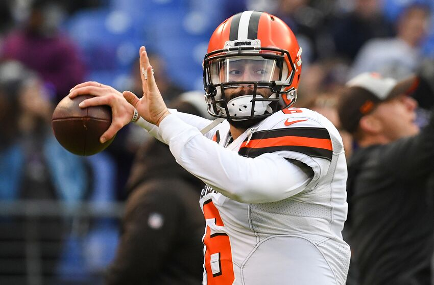 BALTIMORE, MD - DECEMBER 30, 2018: Quarterback Baker Mayfield #6 of the Cleveland Browns throws a pass prior to a game against the Baltimore Ravens on December 30, 2018 at M&T Bank Stadium in Baltimore, Maryland. Baltimore won 26-24. (Photo by: 2018 Nick Cammett/Diamond Images/Getty Images)