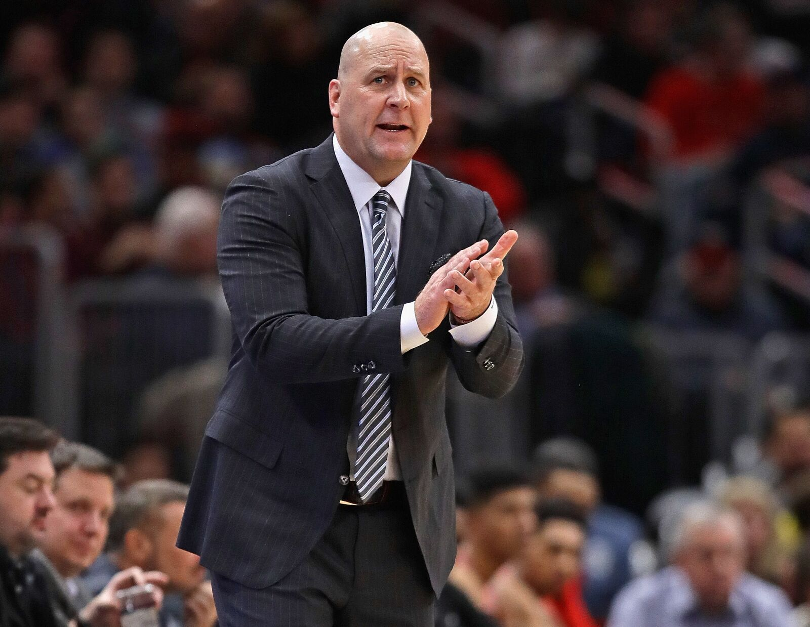CHICAGO, ILLINOIS - DECEMBER 08: Head coach Jim Boylen of the Chicago Bulls encourages his team against the Boston Celtics at United Center on December 08, 2018 in Chicago, Illinois. NOTE TO USER: User expressly acknowledges and agrees that, by downloading and or using this photograph, User is consenting to the terms and conditions of the Getty Images License Agreement. (Photo by Jonathan Daniel/Getty Images)