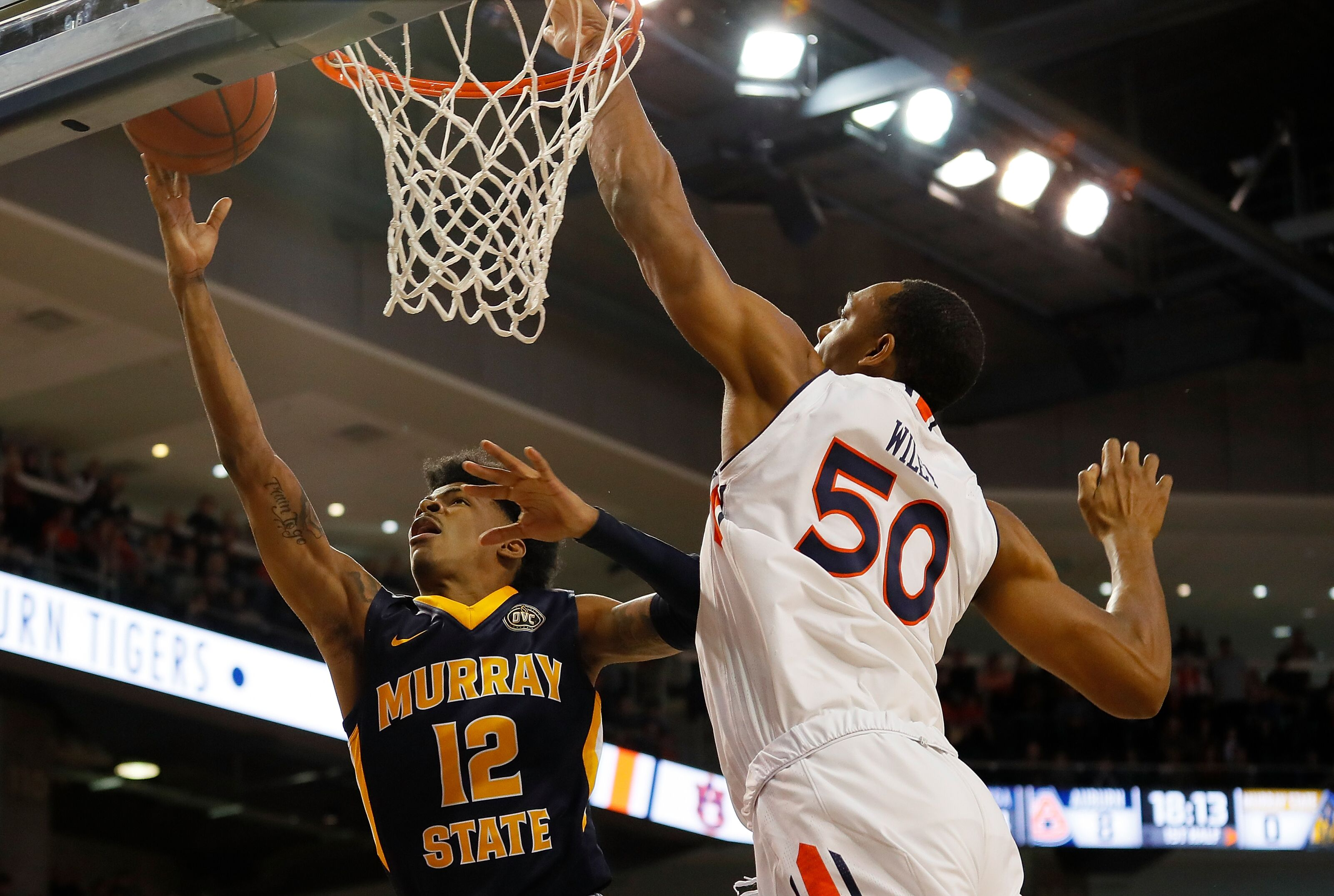 AUBURN, ALABAMA - DECEMBER 22: Ja Morant #12 of the Murray State Racers attacks the basket against Austin Wiley #50 of the Auburn Tigers at Auburn Arena on December 22, 2018 in Auburn, Alabama. (Photo by Kevin C. Cox/Getty Images)