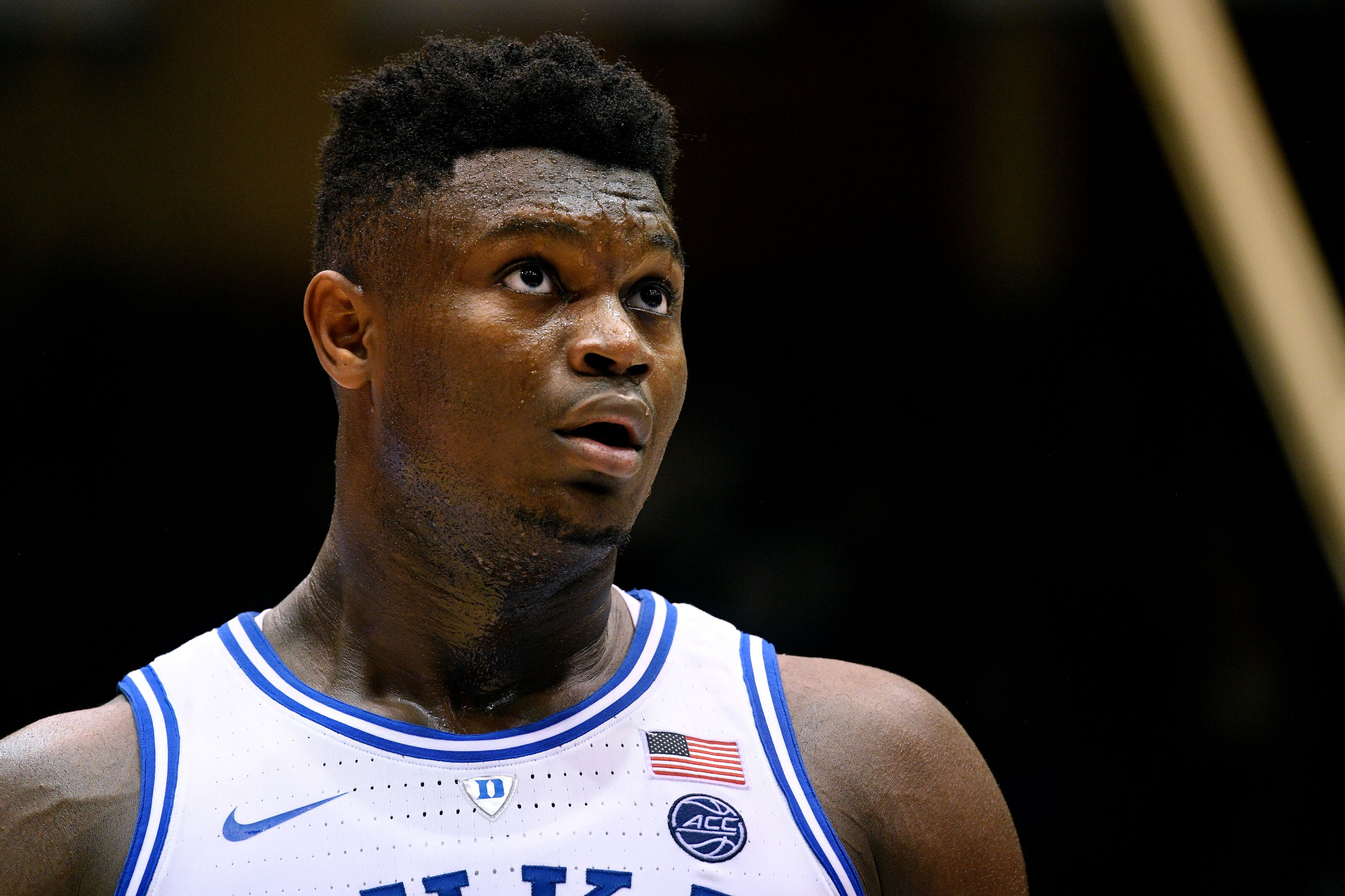 DURHAM, NC - FEBRUARY 05: Zion Williamson #1 of the Duke Blue Devils looks on during their game against the Boston College Eagles at Cameron Indoor Stadium on February 5, 2019 in Durham, North Carolina. Duke won 80-55. (Photo by Lance King/Getty Images)