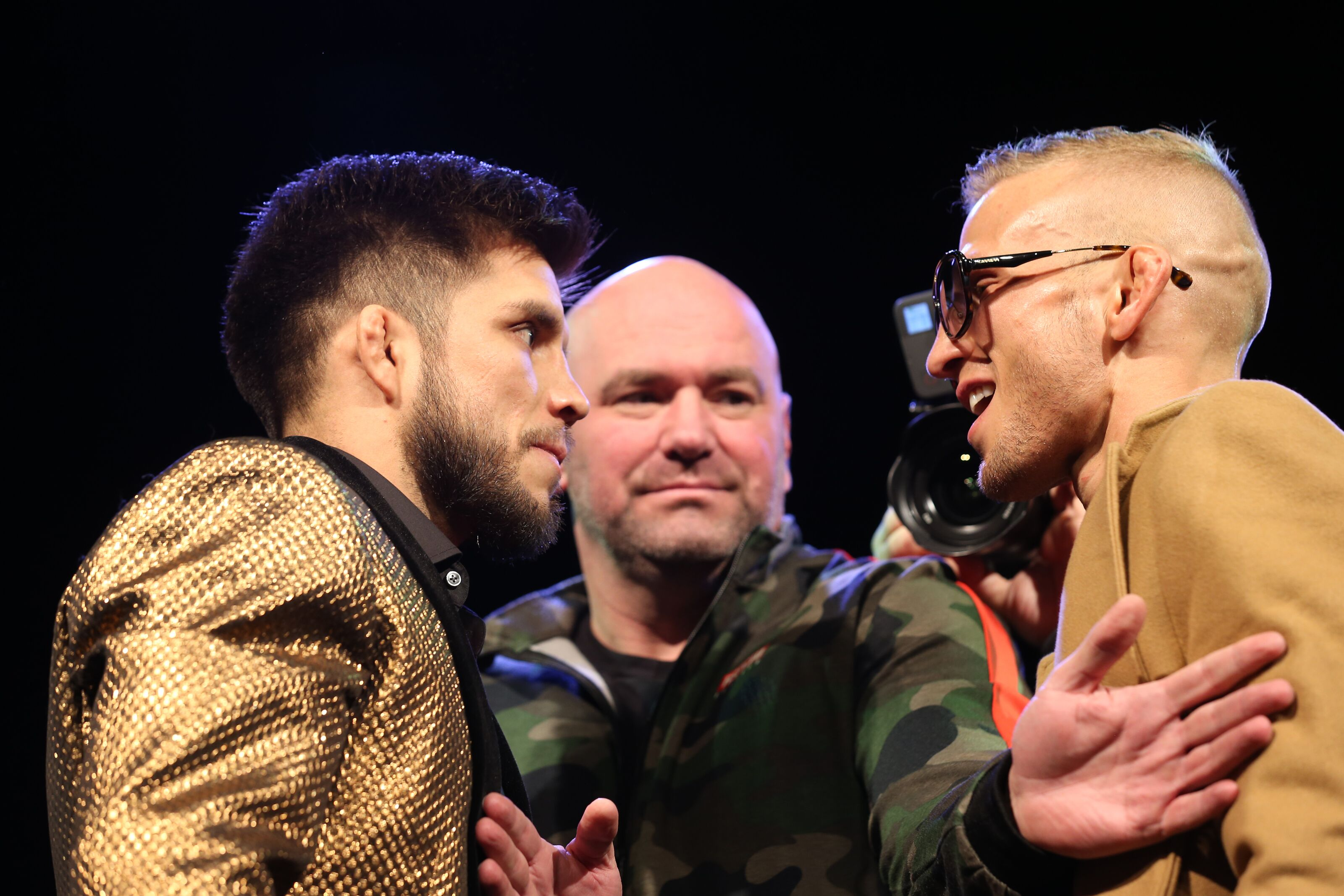 NEW YORK, NEW YORK - JANUARY 17: Henry Cejudo and TJ Dillashaw face off during the press conference ahead of UFC Fight Night Cejudo v Dillashaw at the Music Hall of Williamsburg on January 17, 2019 in the Brooklyn borough of New York City. (Photo by Michael Owens/Zuffa LLC/Zuffa LLC)