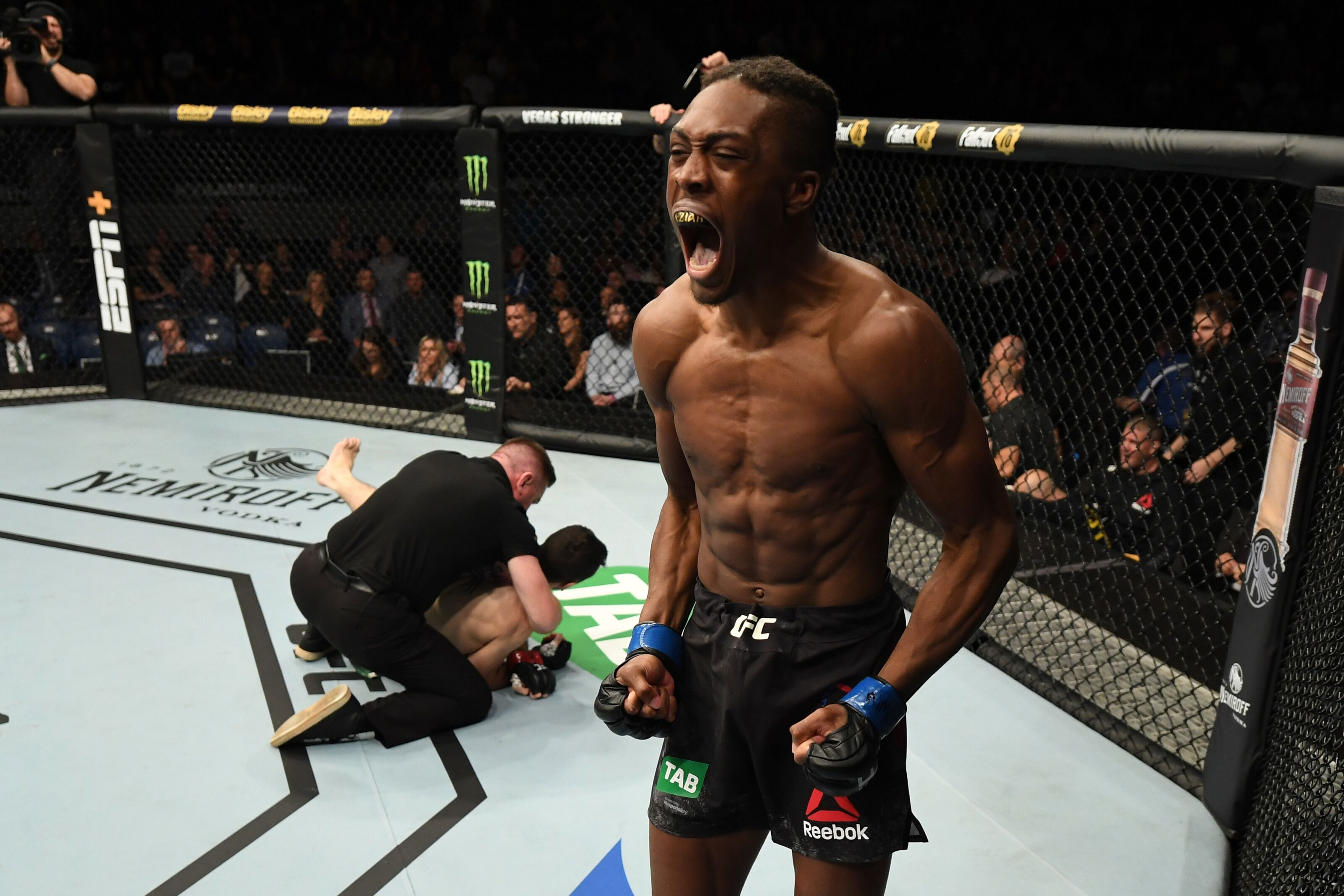 MELBOURNE, AUSTRALIA - FEBRUARY 10: Jalin Turner celebrates his KO victory over Callan Potter of Australia in their lightweight bout during the UFC 234 at Rod Laver Arena on February 10, 2019 in the Melbourne, Australia. (Photo by Jeff Bottari/Zuffa LLC/Zuffa LLC via Getty Images)