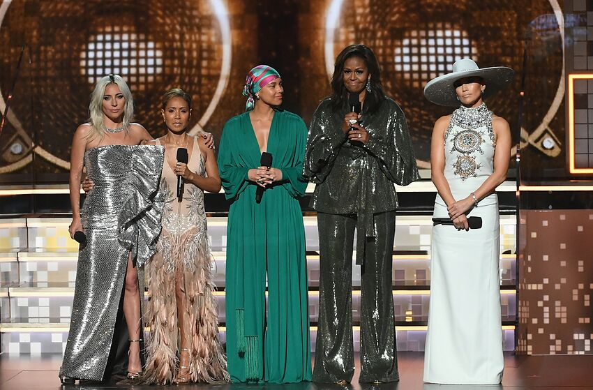LOS ANGELES, CA - FEBRUARY 10: (L-R) Lady Gaga, Jada Pinkett Smith, Alicia Keys, Michelle Obama, and Jennifer Lopez speak onstage during the 61st Annual GRAMMY Awards at Staples Center on February 10, 2019 in Los Angeles, California. (Photo by Kevin Winter/Getty Images for The Recording Academy)