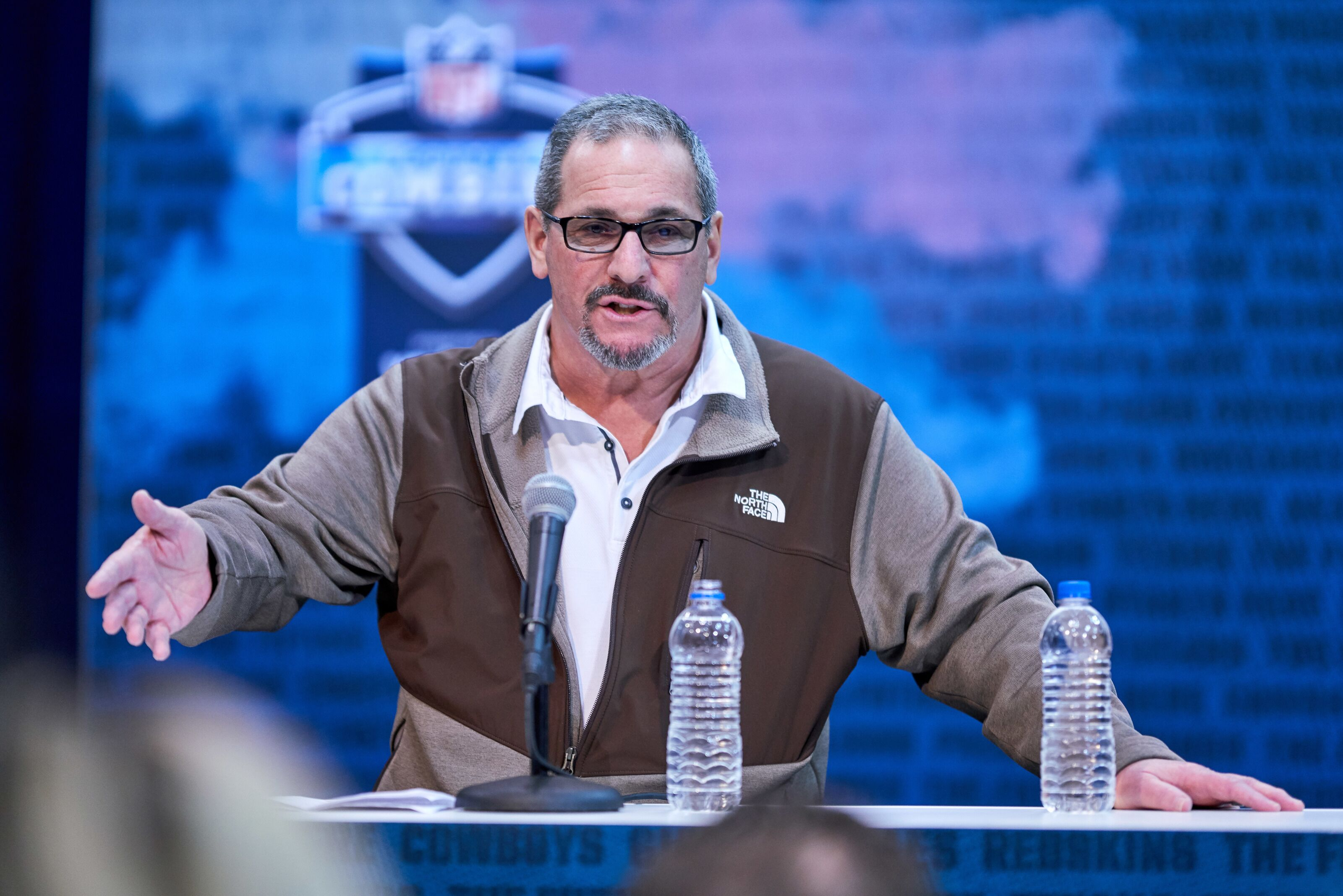 INDIANAPOLIS, IN - FEBRUARY 27: New York Giants general manager Dave Gettleman speaks to the media during the NFL Scouting Combine on February 27, 2019 at the Indiana Convention Center in Indianapolis, IN. (Photo by Robin Alam/Icon Sportswire via Getty Images)