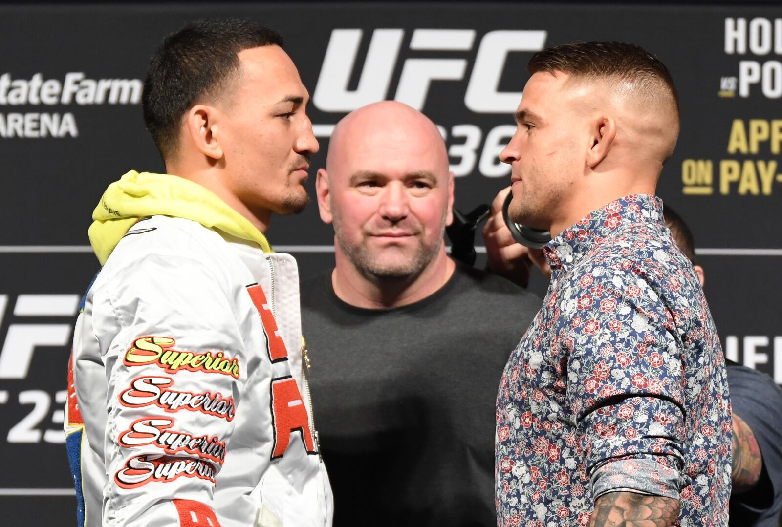 LAS VEGAS, NV - MARCH 1: (L-R) Opponents Max Holloway and Dustin Poirier face off during the UFC 236 Press Conference inside T-Mobile Arena on March 1, 2019 in Las Vegas, Nevada. (Photo by Jeff Bottari/Zuffa LLC/Zuffa LLC via Getty Images)