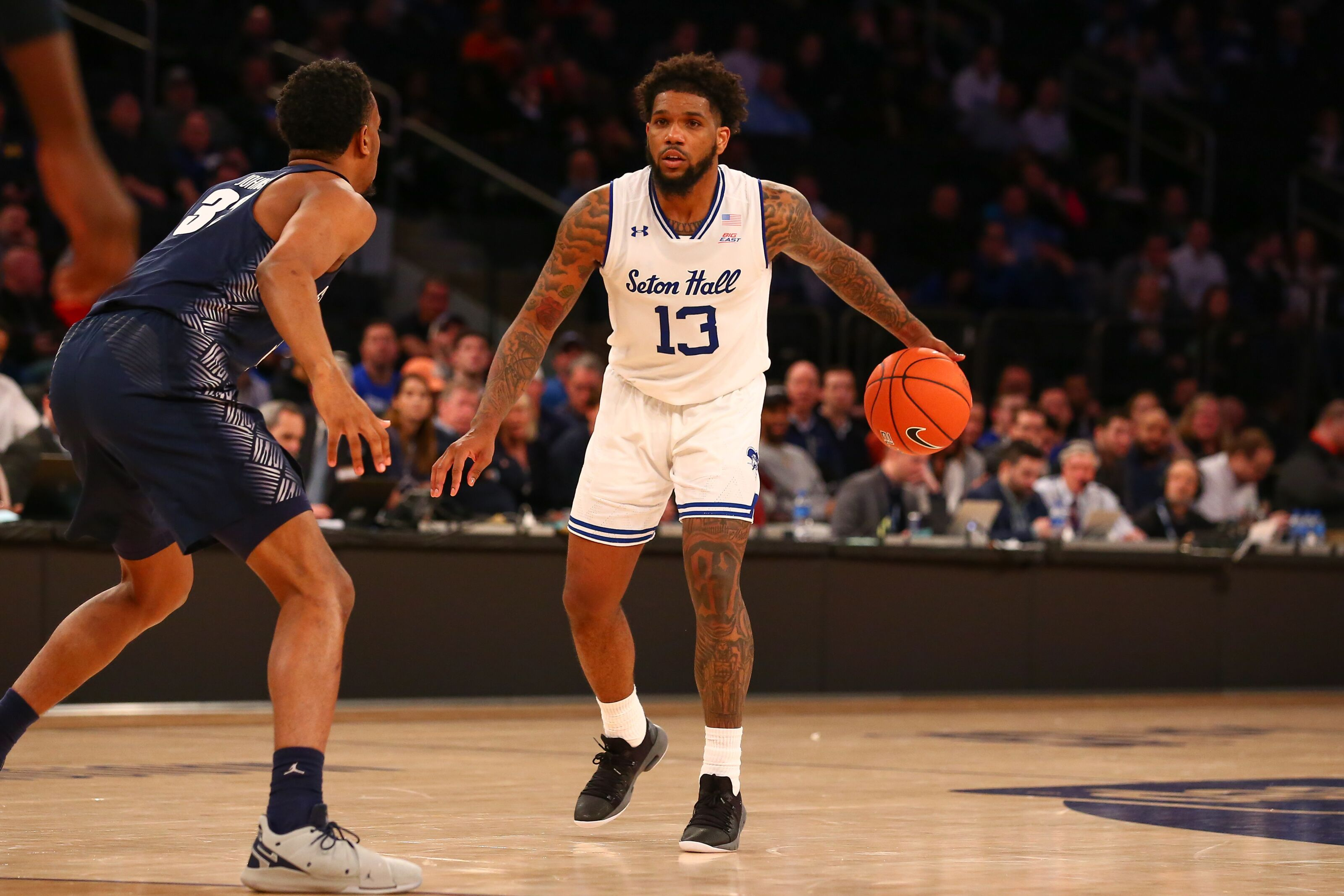 NEW YORK, NY - MARCH 14: Seton Hall Pirates guard Myles Powell (13) during the second half of the Big East Tournament quarterfinal game between the Seton Hall Pirates and the Georgetown Hoyas on March 14, 2019 at Madison Square Garden in New York, NY. (Photo by Rich Graessle/Icon Sportswire via Getty Images)