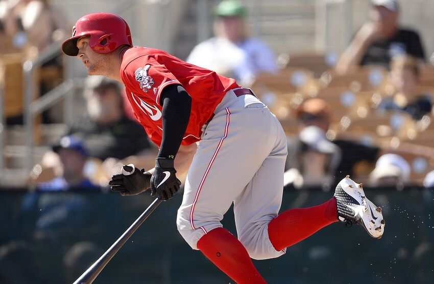GLENDALE, ARIZONA - FEBRUARY 27: Nick Senzel #15 of the Cincinnati Reds bats against the Chicago White Sox on February 27, 2019 at Camelback Ranch in Glendale Arizona. (Photo by Ron Vesely/MLB Photos via Getty Images)