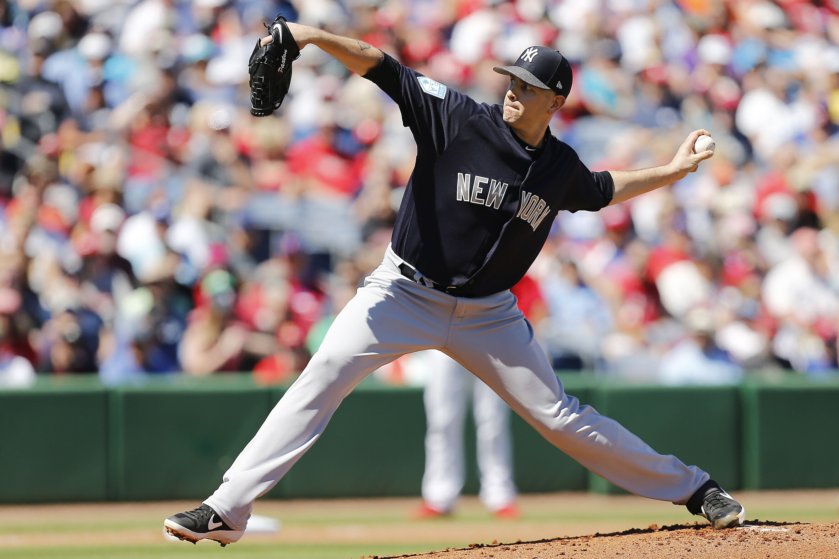 CLEARWATER, FLORIDA - MARCH 07: James Paxton #65 of the New York Yankees in action against the Philadelphia Phillies during the Grapefruit League spring training game at Spectrum Field on March 07, 2019 in Clearwater, Florida. (Photo by Michael Reaves/Getty Images)