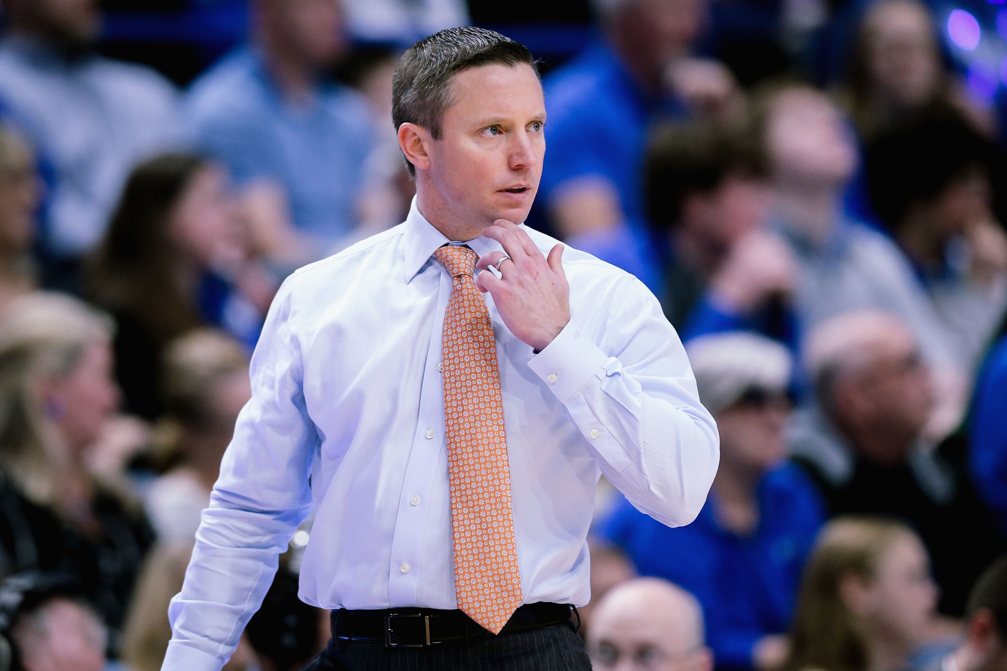 LEXINGTON, KENTUCKY - MARCH 09: Head coach Mike White of the Florida Gators looks on in the first half against the Kentucky Wildcats at Rupp Arena on March 09, 2019 in Lexington, Kentucky. (Photo by Dylan Buell/Getty Images)