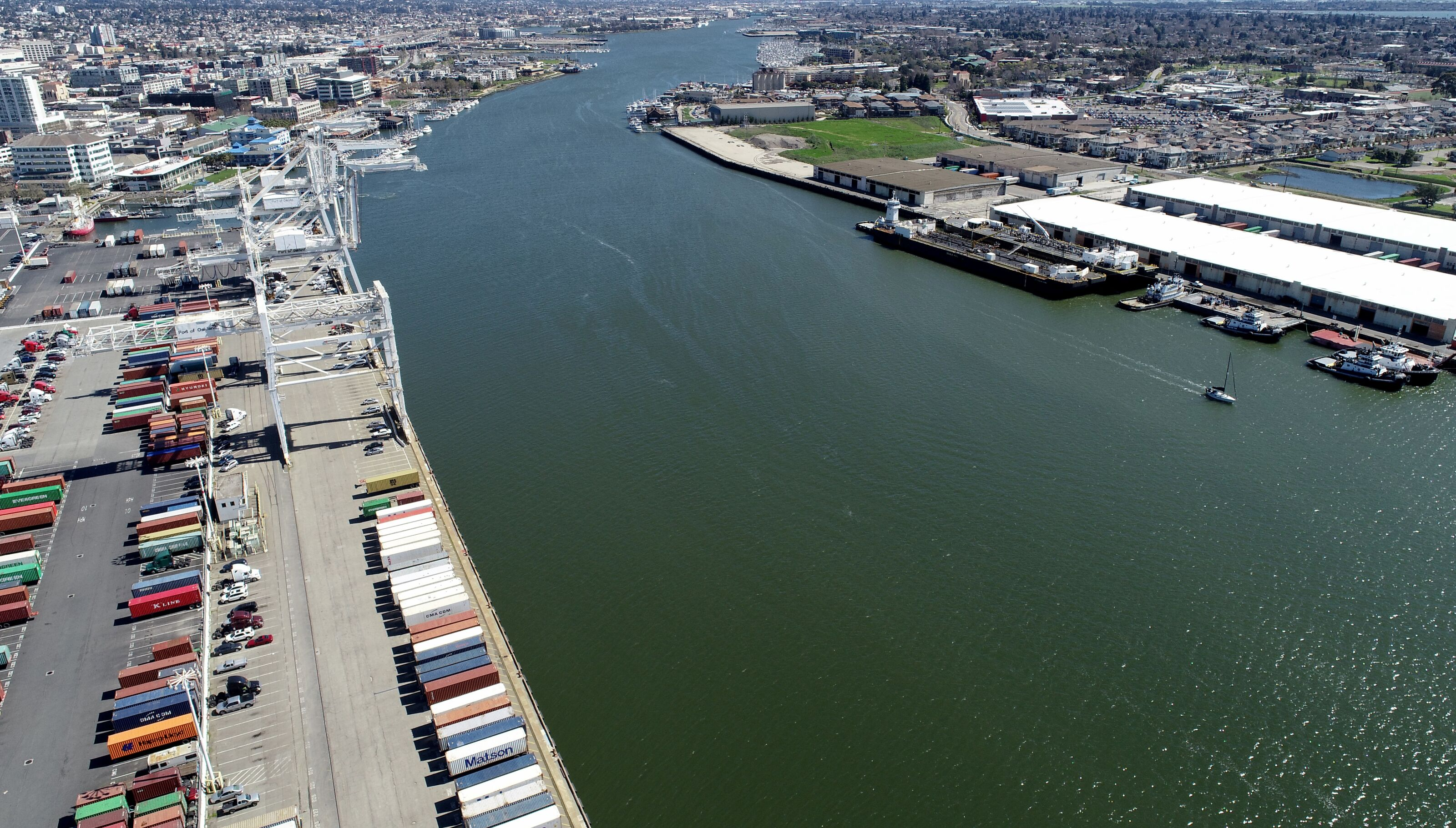 OAKLAND, CA - MARCH 13: Howard Terminal and the Oakland Estuary are seen from this drone view in Oakland, Calif., on Wednesday, March 13, 2019. The site is being considered for the Oakland Athletics new ballpark and for housing on the northern side near Schnitzer Steel. (Photo by Jane Tyska/MediaNews Group/The Mercury News via Getty Images)