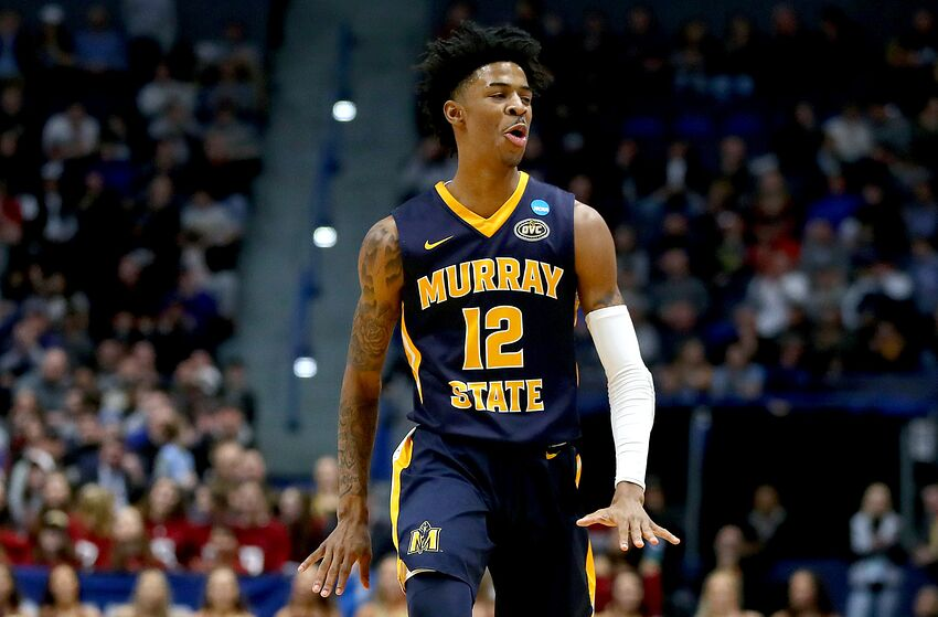 HARTFORD, CONNECTICUT - MARCH 23: Ja Morant #12 of the Murray State Racers celebrates his three point basket against the Florida State Seminoles in the first half during the second round of the 2019 NCAA Men's Basketball Tournament at XL Center on March 23, 2019 in Hartford, Connecticut. (Photo by Maddie Meyer/Getty Images)