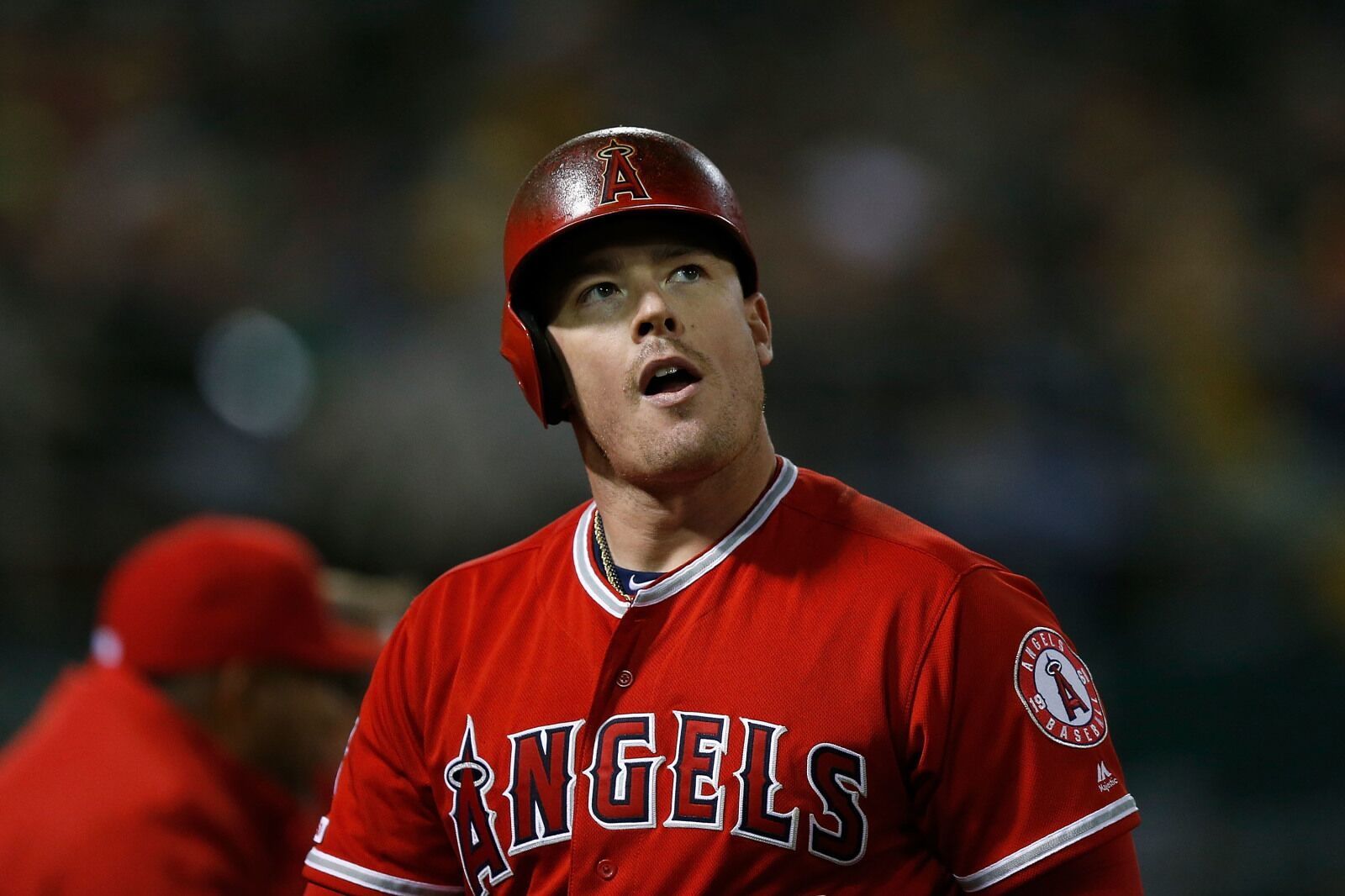 OAKLAND, CA - MARCH 30: Justin Bour #41 of the Los Angeles Angels of Anaheim walks back to the dugout after being called out on strikes in the top of the eighth inning against the Oakland Athletics at Oakland-Alameda County Coliseum on March 30, 2019 in Oakland, California. (Photo by Lachlan Cunningham/Getty Images)