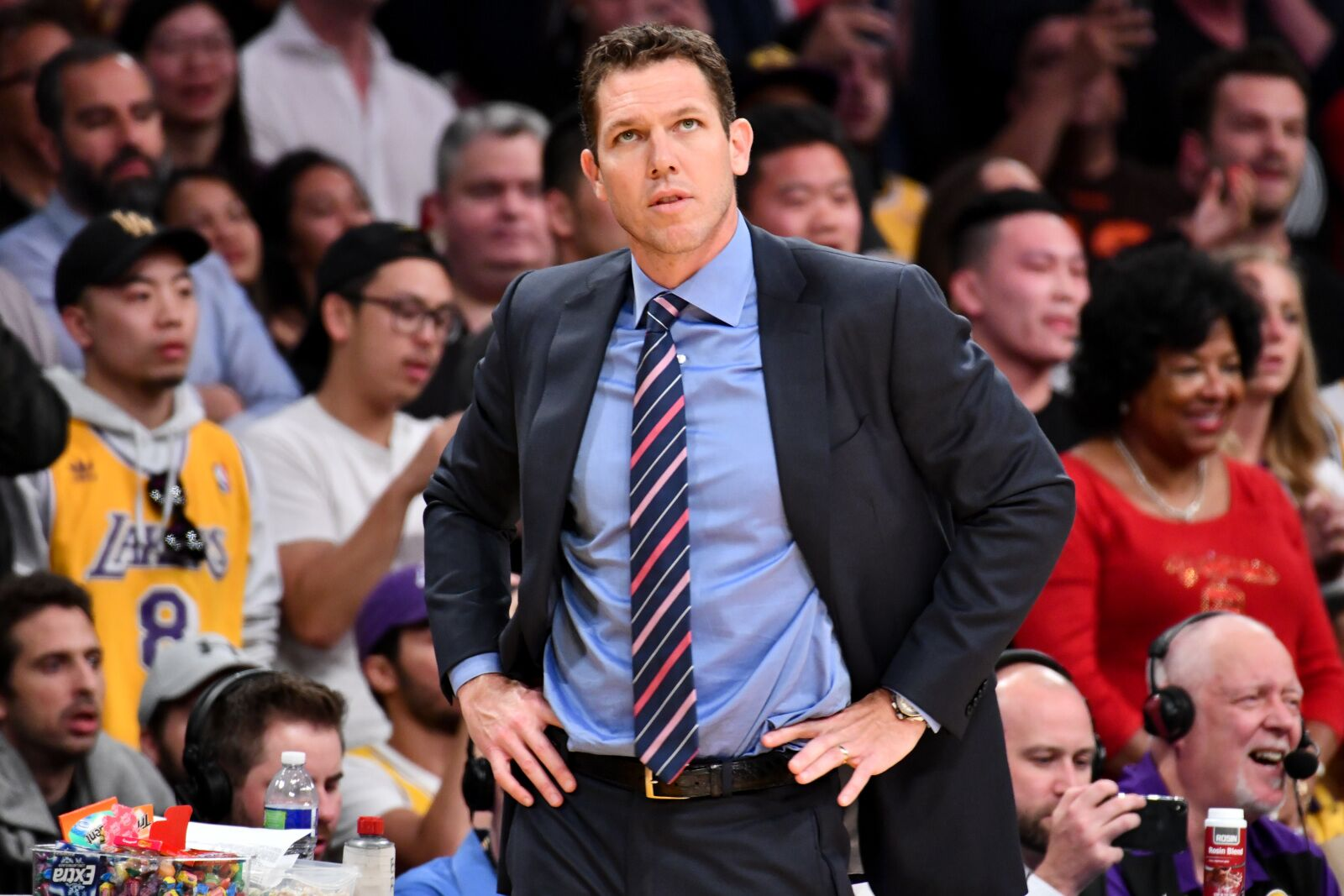LOS ANGELES, CALIFORNIA - APRIL 09: Luke Walton coaches the last basketball game of the season between the Los Angeles Lakers and the Portland Trail Blazers at Staples Center on April 09, 2019 in Los Angeles, California. (Photo by Allen Berezovsky/Getty Images)