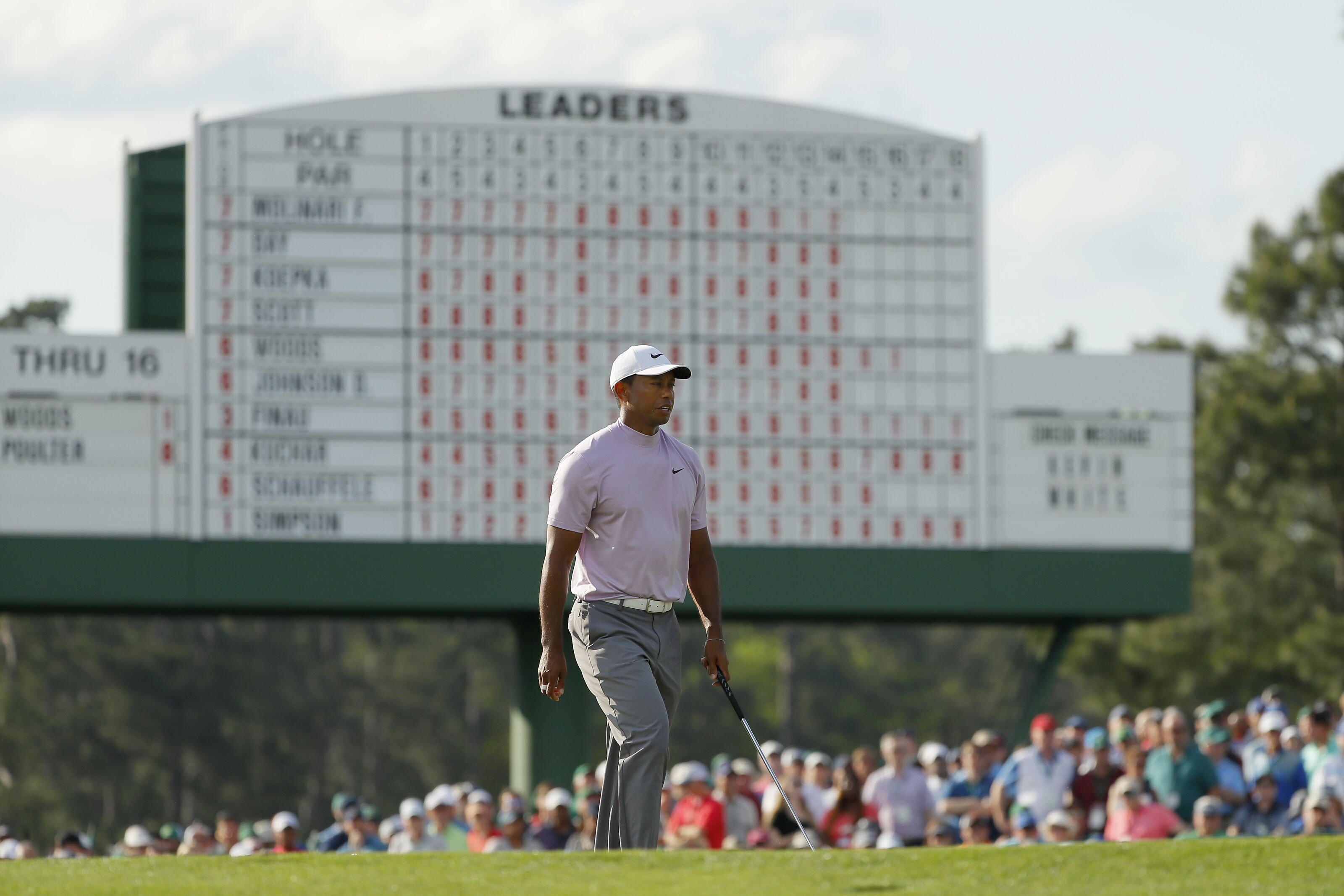 AUGUSTA, GEORGIA - APRIL 13: Tiger Woods of the United States walks on the 17th green during the third round of the Masters at Augusta National Golf Club on April 13, 2019 in Augusta, Georgia. (Photo by Kevin C. Cox/Getty Images)