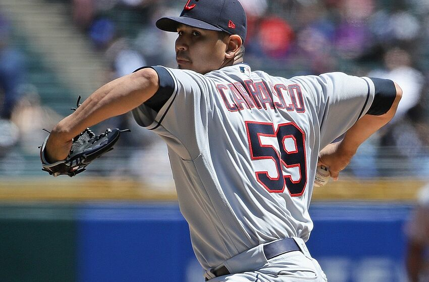 CHICAGO, ILLINOIS - MAY 14: Starting pitcher Carlos Carrasco #59 of the Cleveland Indians delivers the ball against the Chicago White Sox at Guaranteed Rate Field on May 14, 2019 in Chicago, Illinois. (Photo by Jonathan Daniel/Getty Images)