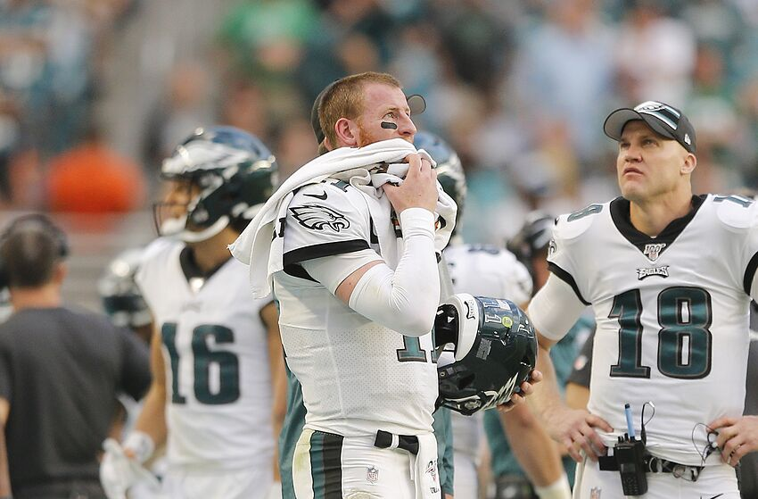 MIAMI, FLORIDA - DECEMBER 01: Carson Wentz #11 of the Philadelphia Eagles reacts against the Miami Dolphins during the fourth quarter at Hard Rock Stadium on December 01, 2019 in Miami, Florida. (Photo by Michael Reaves/Getty Images)