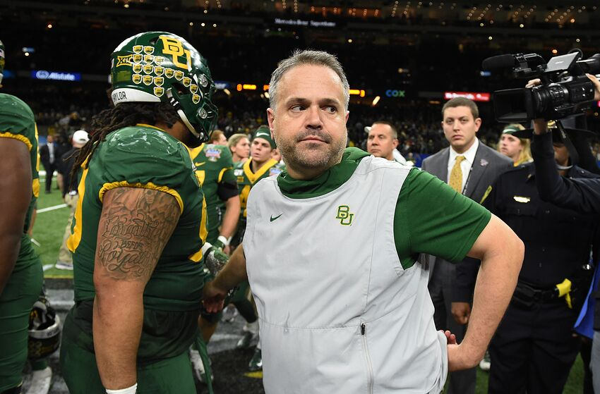 NEW ORLEANS, LA - JANUARY 01: Baylor Bears Head Coach Matt Rhule after the Allstate Sugar Bowl between the Georgia Bulldogs and Baylor Bears on January 01, 2020, at Mercedes-Benz Superdome in New Orleans, LA.(Photo by Jeffrey Vest/Icon Sportswire via Getty Images)