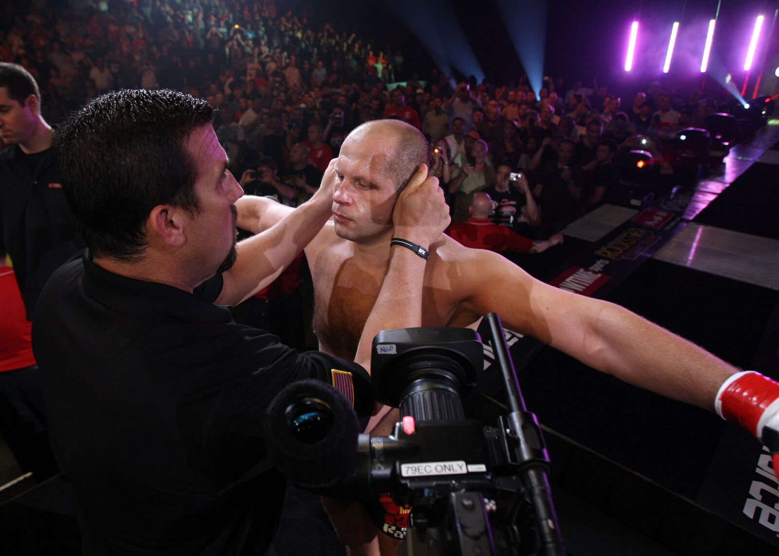 HOFFMAN ESTATES, IL - JULY 30: Fedor Emelianenko prepares to enter the cage before his fight against Dan Henderson at the Strikeforce event at Sears Centre Arena on July 30, 2011 in Hoffman Estates, Illinois. (Photo by Josh Hedges/Forza LLC/Forza LLC via Getty Images)