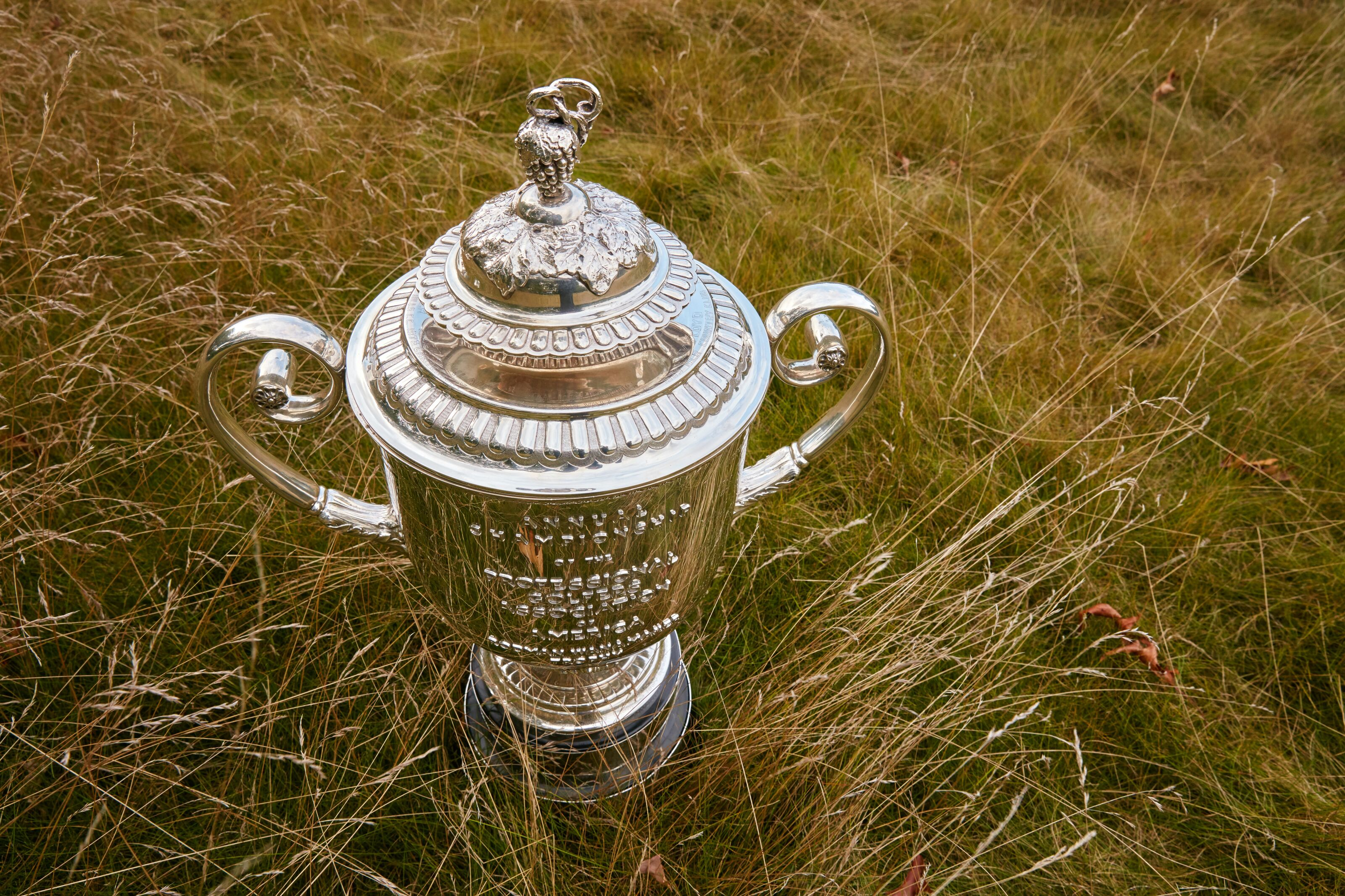SPRINGFIELD TOWNSHIP, NJ - SEPTEMBER 20: EDITORS NOTE: This image has been retouched.) The Wannamaker Trophy sits at the Baltusrol Golf Club the host of the 2016 PGA Championship on September 20, 2015 in Springfield Township, New Jersey. (Photo by Gary Kellner/PGA of America via Getty Images)
