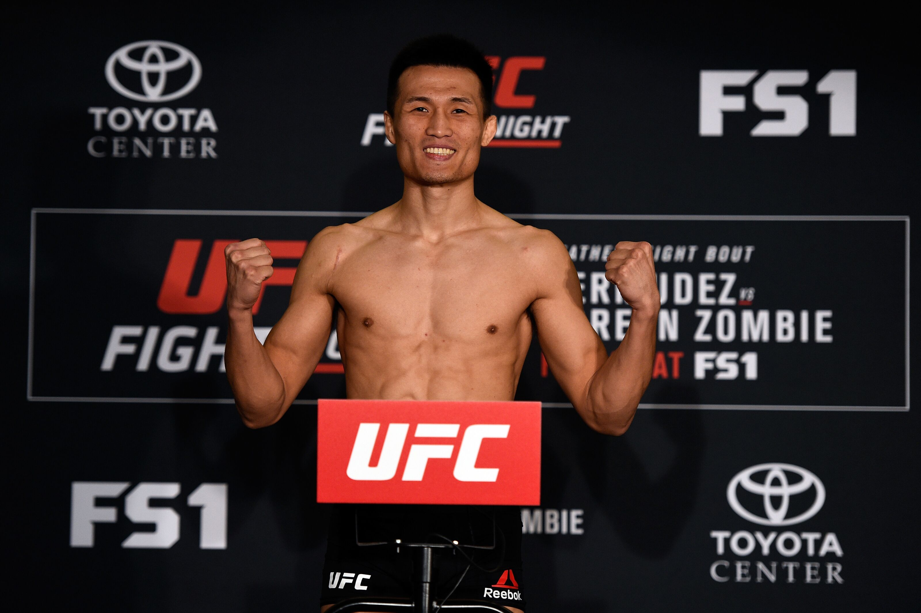 HOUSTON, TEXAS - FEBRUARY 03: Chan Sung Jung of South Korea poses on the scale during the UFC Fight Night weigh-in at the Sheraton North Houston at George Bush Intercontinental on February 3, 2017 in Houston, Texas. (Photo by Jeff Bottari/Zuffa LLC/Zuffa LLC via Getty Images)