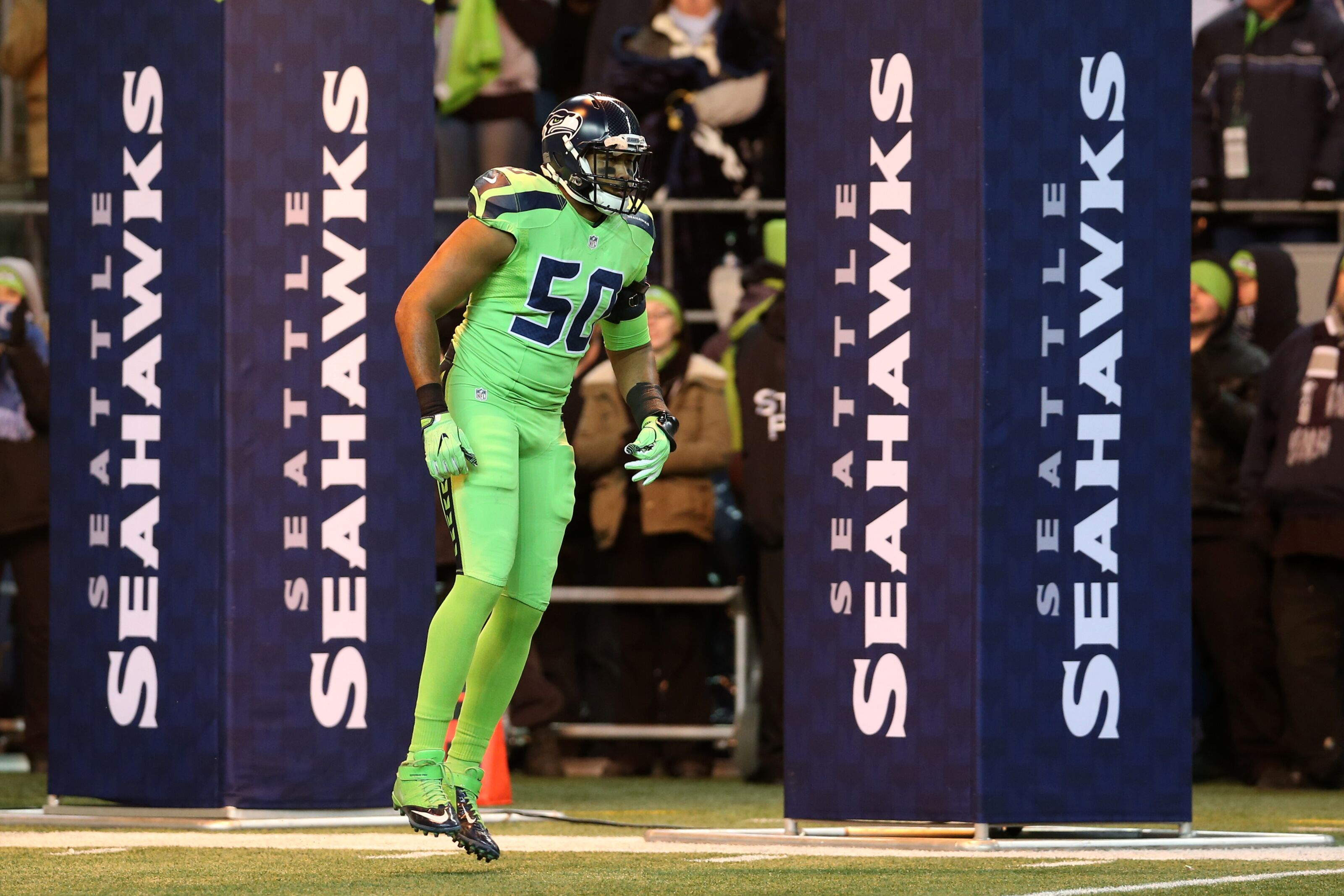 SEATTLE, WA - DECEMBER 15: K.J. Wright #50 of the Seattle Seahawks is introduced before the game against the Los Angeles Rams at CenturyLink Field on December 15, 2016 in Seattle, Washington. The Seahawks defeated the Rams 24-3. (Photo by Rob Leiter via Getty Images)
