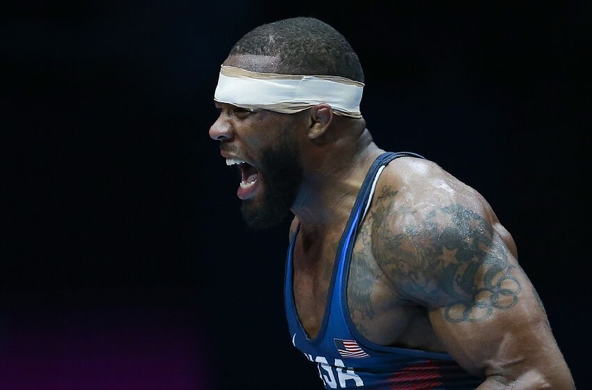 bdee9ce73ab USA's Jordan Burroughs celebrates after winning the men's freestyle  wrestling -74kg category final at the