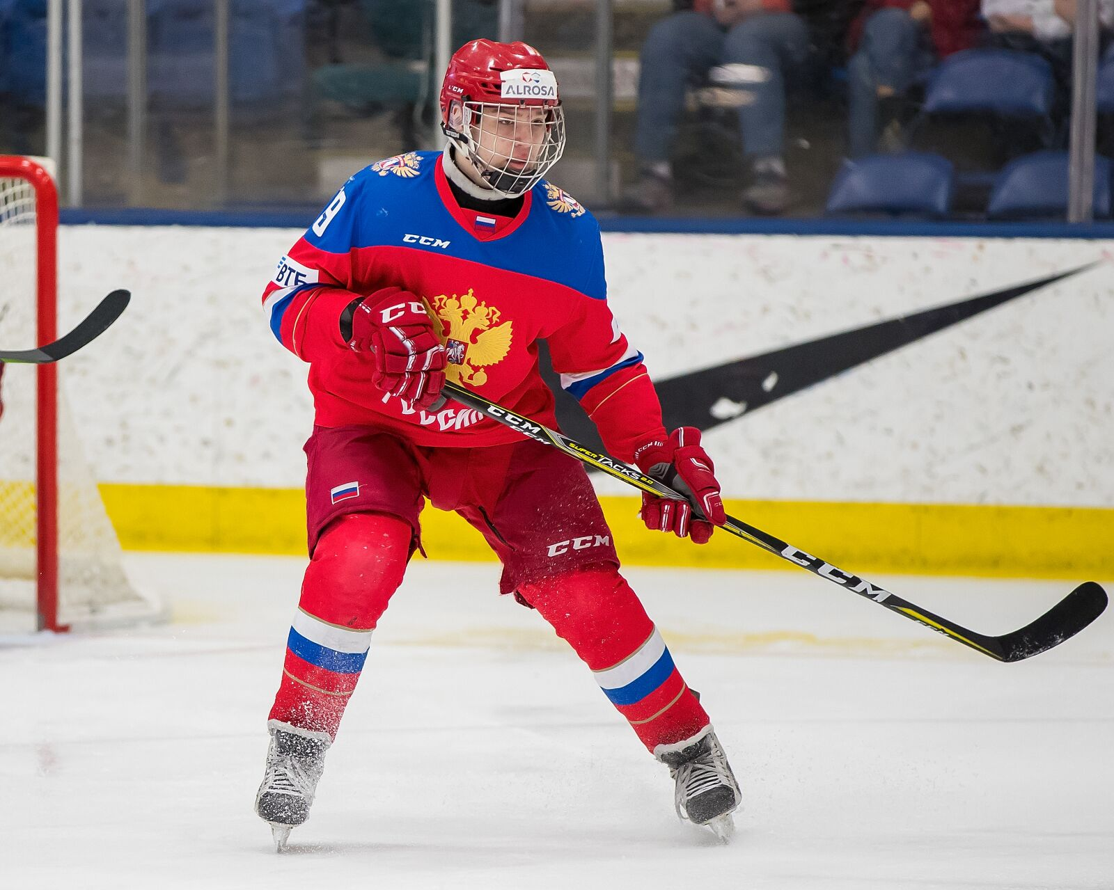 PLYMOUTH, MI - FEBRUARY 16: Vasili Podkolzin #19 of the Russian Nationals follows the play against the USA Nationals during the 2018 Under-18 Five Nations Tournament game at USA Hockey Arena on February 16, 2018 in Plymouth, Michigan. USA defeated Russia 5-4. (Photo by Dave Reginek/Getty Images)*** Local Caption *** Vasili Podkolzin