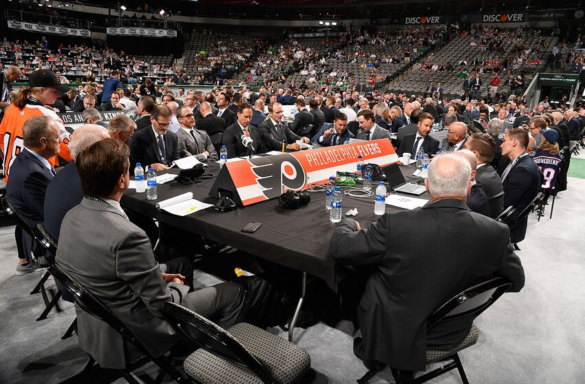 DALLAS, TX - JUNE 22: A general view of the Philadelphia Flyers draft table is seen during the first round of the 2018 NHL Draft at American Airlines Center on June 22, 2018 in Dallas, Texas. (Photo by Brian Babineau/NHLI via Getty Images)
