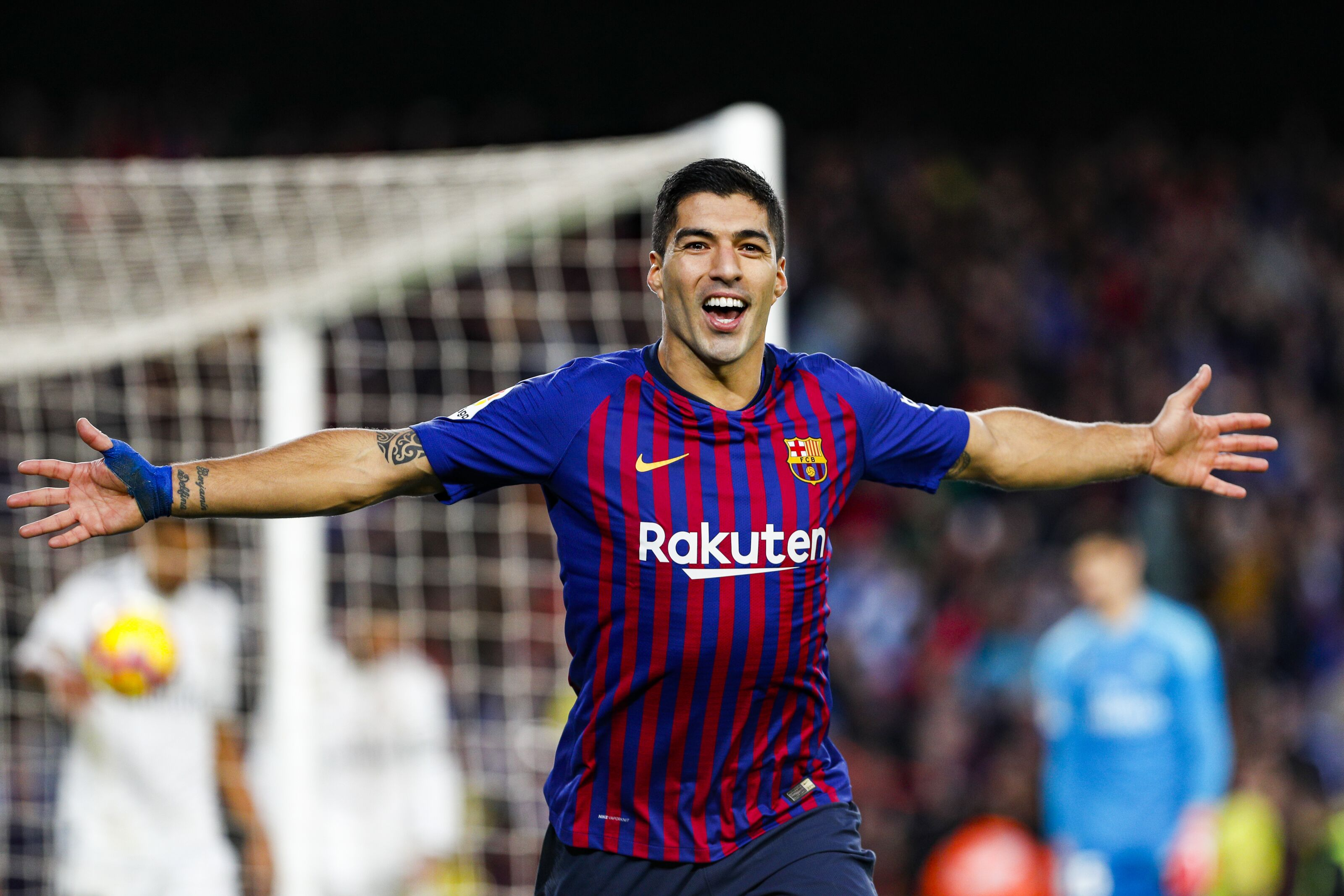 FC Barcelona forward Luis Suarez (9) celebrates scoring the goal during the match FC Barcelona against Real Madrid, for the round 10 of the Liga Santander, played at Camp Nou on 28th October 2018 in Barcelona, Spain. (Photo by Mikel Trigueros/Urbanandsport/ NurPhoto via Getty Images)