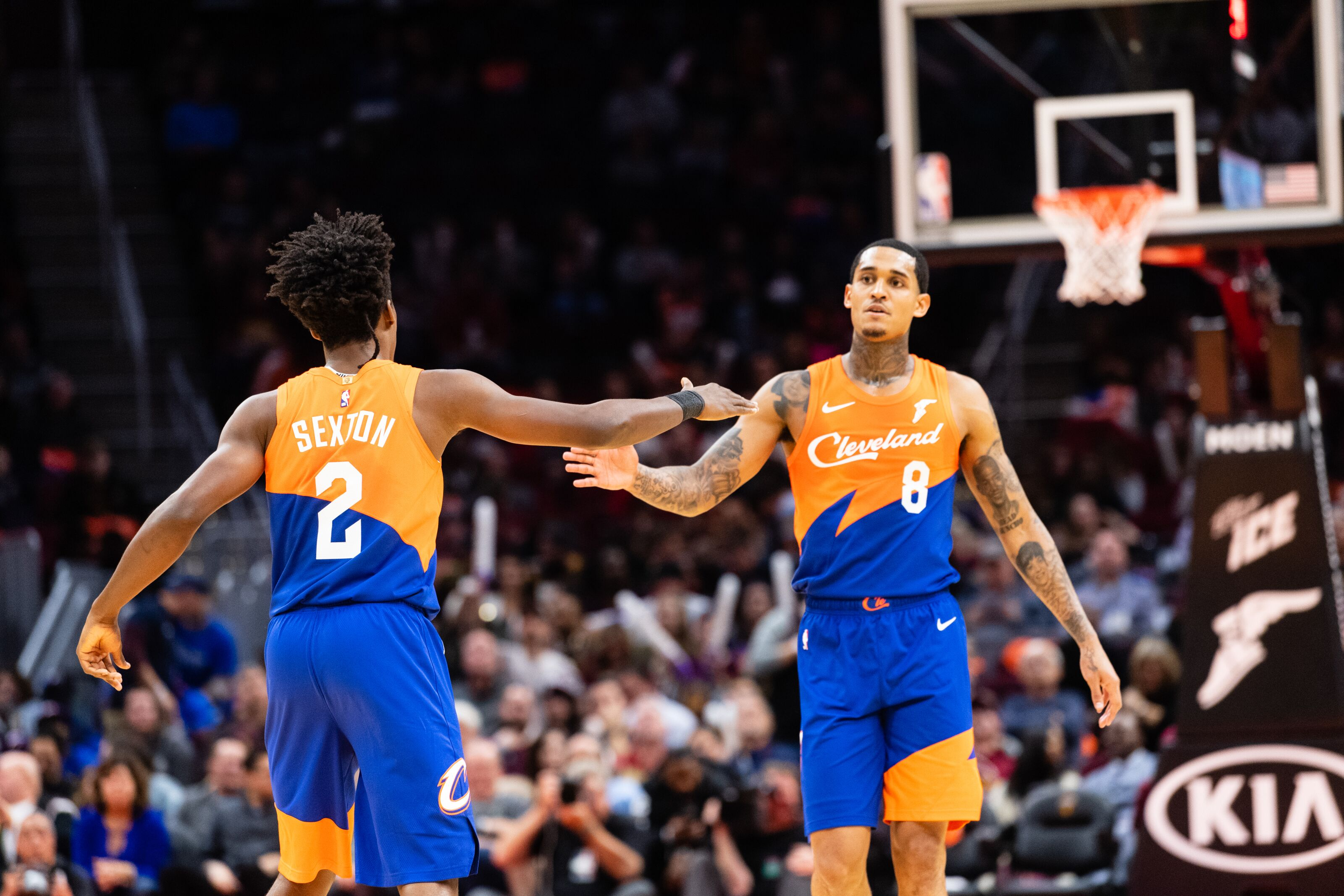 CLEVELAND, OH - NOVEMBER 13: Collin Sexton #2 of the Cleveland Cavaliers celebrates with Jordan Clarkson #8 after scoring during the second half against the Charlotte Hornets at Quicken Loans Arena on November 13, 2018 in Cleveland, Ohio. The Cavaliers defeated the Hornets 113-89. NOTE TO USER: User expressly acknowledges and agrees that, by downloading and/or using this photograph, user is consenting to the terms and conditions of the Getty Images License Agreement. (Photo by Jason Miller/Getty Images)