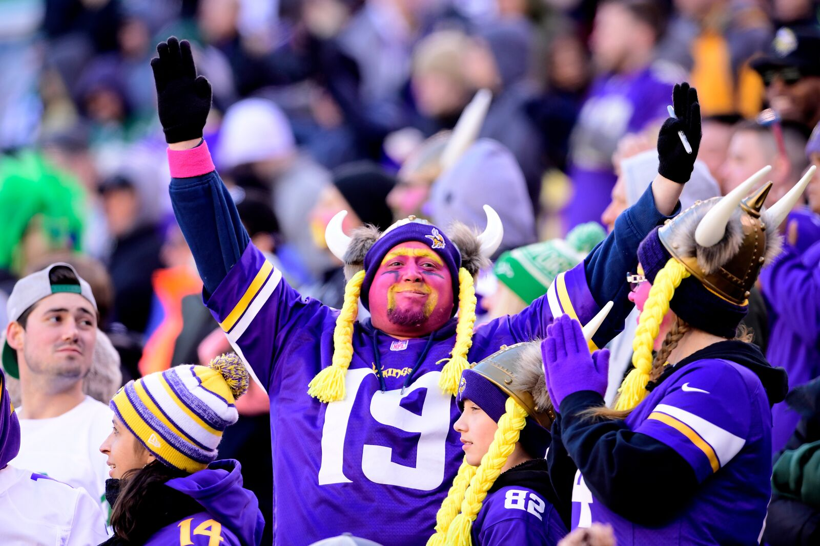 EAST RUTHERFORD, NJ - OCTOBER 21: A Minnesota Vikings fan cheers on his team against the New York Jets at MetLife Stadium on October 21, 2018 in East Rutherford, New Jersey. The Vikings defeated the Jets 37-17. (Photo by Steven Ryan/Getty Images)