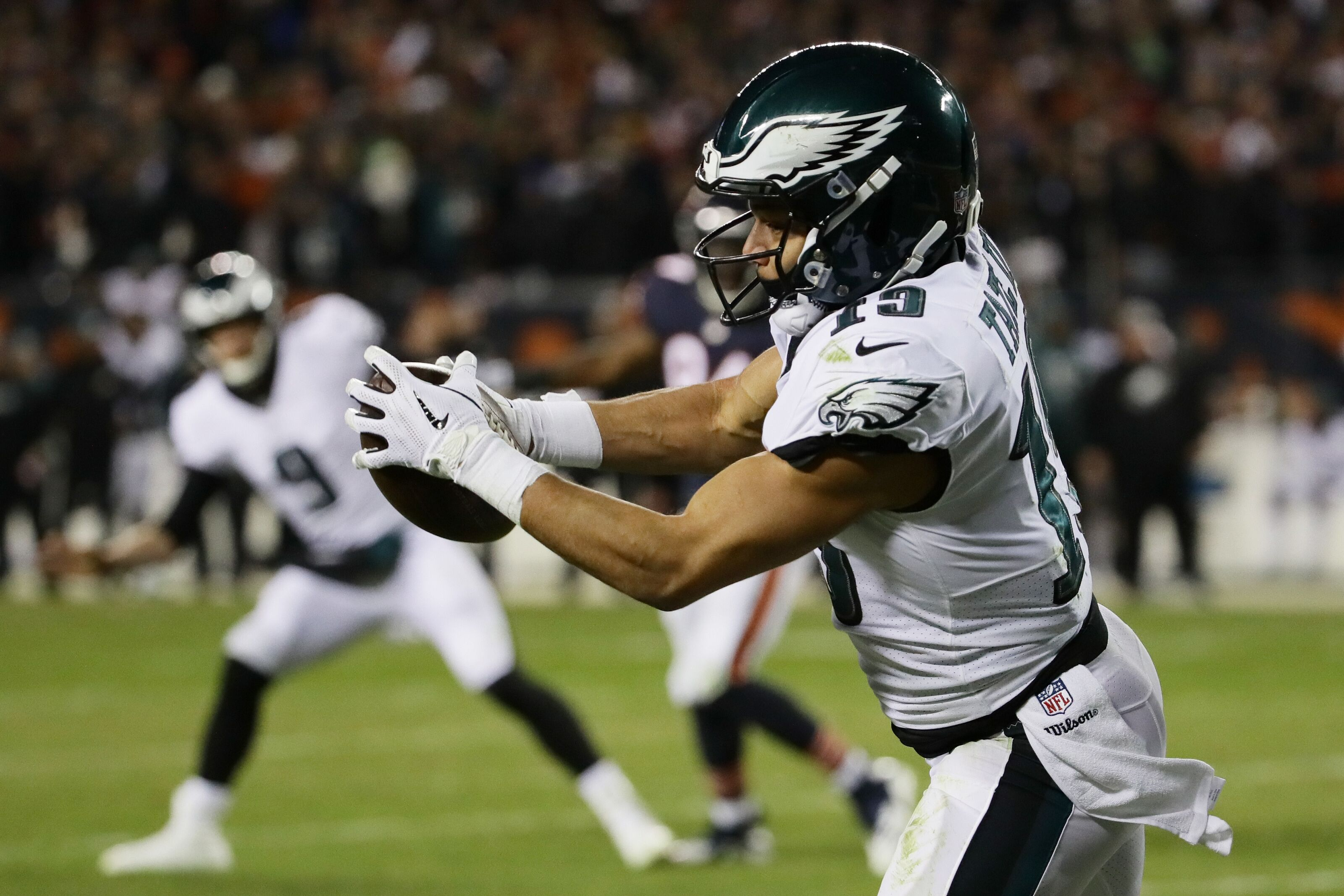 CHICAGO, ILLINOIS - JANUARY 06: Golden Tate #19 of the Philadelphia Eagles completes a reception to score a touchdown against the Chicago Bears in the fourth quarter of the NFC Wild Card Playoff game at Soldier Field on January 06, 2019 in Chicago, Illinois. (Photo by Jonathan Daniel/Getty Images)