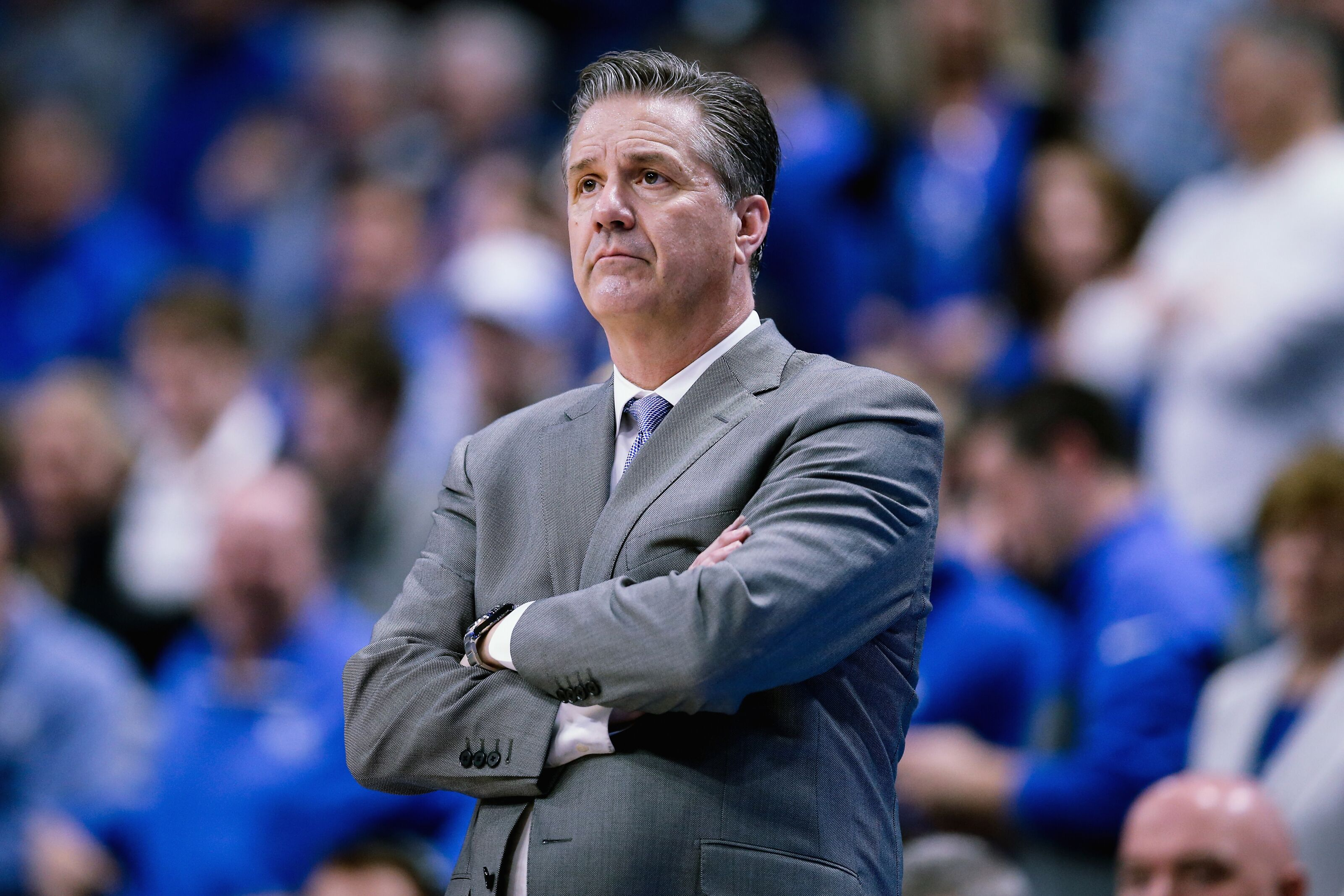 LEXINGTON, KENTUCKY - MARCH 09: Head coach John Calipari of the Kentucky Wildcats looks on in the second half against the Florida Gators at Rupp Arena on March 09, 2019 in Lexington, Kentucky. (Photo by Dylan Buell/Getty Images)