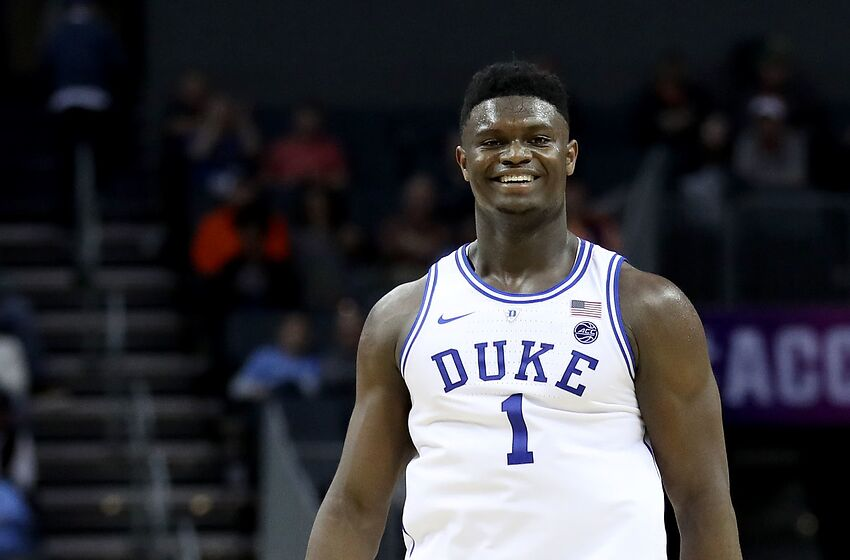 CHARLOTTE, NORTH CAROLINA - MARCH 14: Zion Williamson #1 of the Duke Blue Devils reacts against the Syracuse Orange during their game in the quarterfinal round of the 2019 Men's ACC Basketball Tournament at Spectrum Center on March 14, 2019 in Charlotte, North Carolina. (Photo by Streeter Lecka/Getty Images)