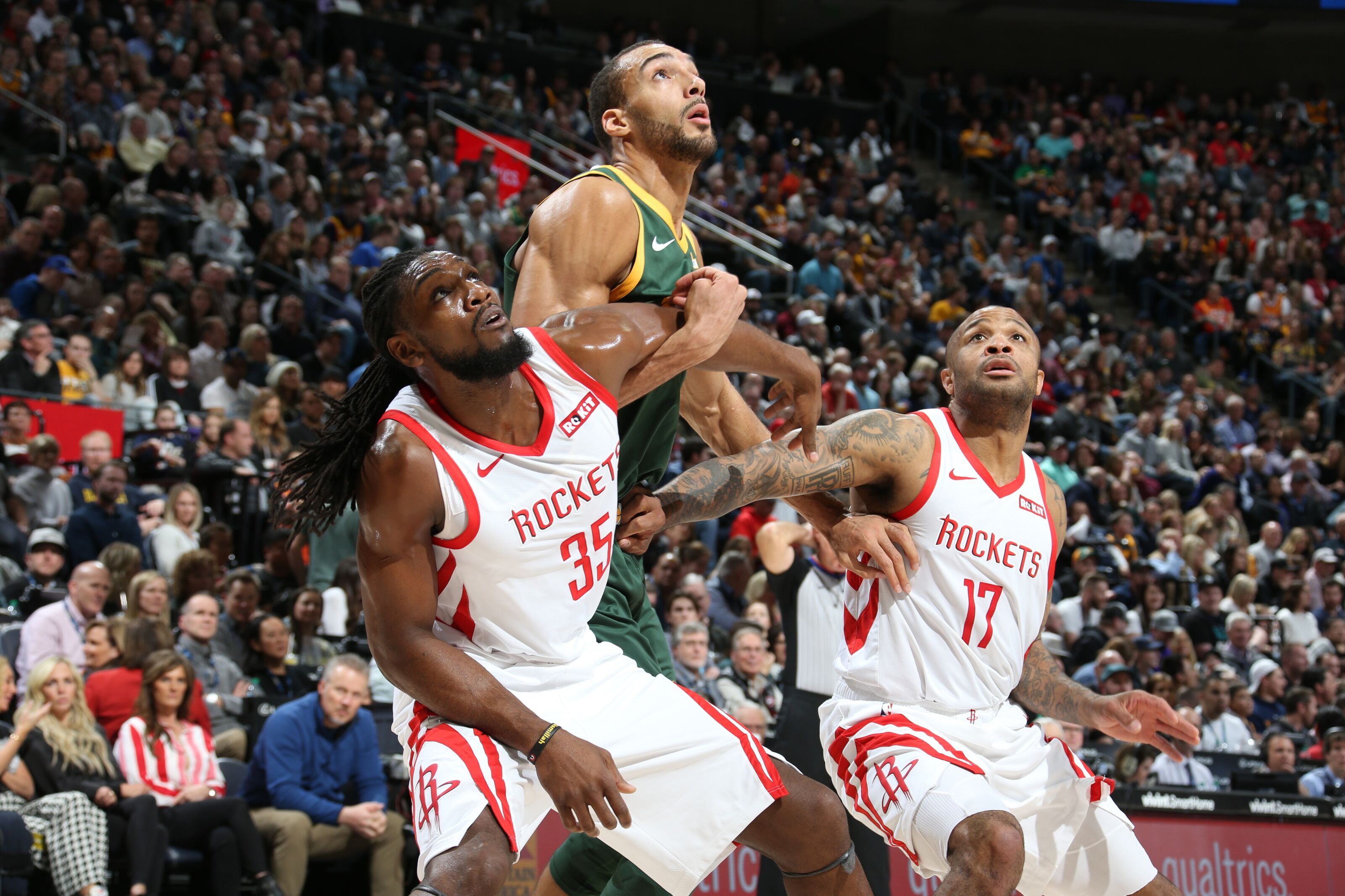 SALT LAKE CITY, UT - FEBRUARY 2: Kenneth Faried #35 of the Houston Rockets, Rudy Gobert #27 of the Utah Jazz, and PJ Tucker #17 of the Houston Rockets fight for position on February 2, 2019 at Vivint Smart Home Arena in Salt Lake City, Utah. NOTE TO USER: User expressly acknowledges and agrees that, by downloading and or using this Photograph, User is consenting to the terms and conditions of the Getty Images License Agreement. Mandatory Copyright Notice: Copyright 2019 NBAE (Photo by Melissa Majchrzak/NBAE via Getty Images)
