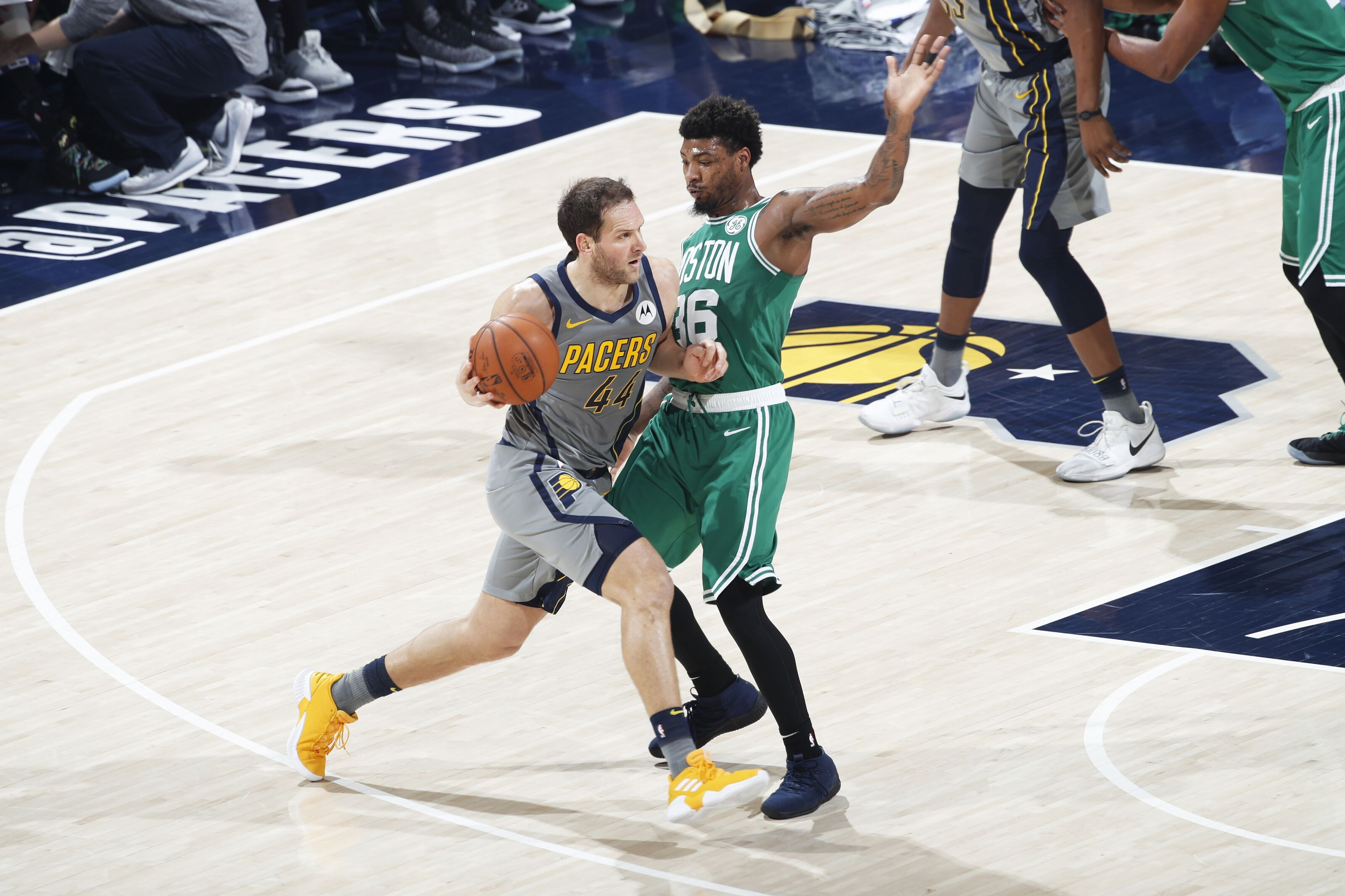 INDIANAPOLIS, IN - APRIL 05: Bojan Bogdanovic #44 of the Indiana Pacers tries to drive against Marcus Smart #36 of the Boston Celtics in the first half of a game at Bankers Life Fieldhouse on April 5, 2019 in Indianapolis, Indiana. The Celtics won 117-97. NOTE TO USER: User expressly acknowledges and agrees that, by downloading and or using the photograph, User is consenting to the terms and conditions of the Getty Images License Agreement. (Photo by Joe Robbins/Getty Images)