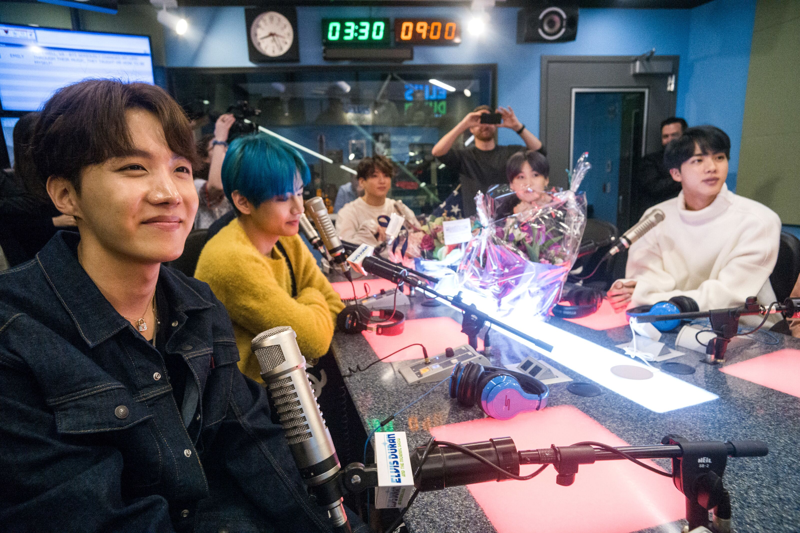 NEW YORK, NY - APRIL 12: (EXCLUSIVE COVERAGE) J-Hope, V, Jungkook, Suga, and Jin of BTS visit The Elvis Duran Z100 Morning Show at Z100 Studio on April 12, 2019 in New York City. (Photo by Steve Ferdman/Getty Images for Elvis Duran) (Photo by Steven Ferdman/Getty Images)