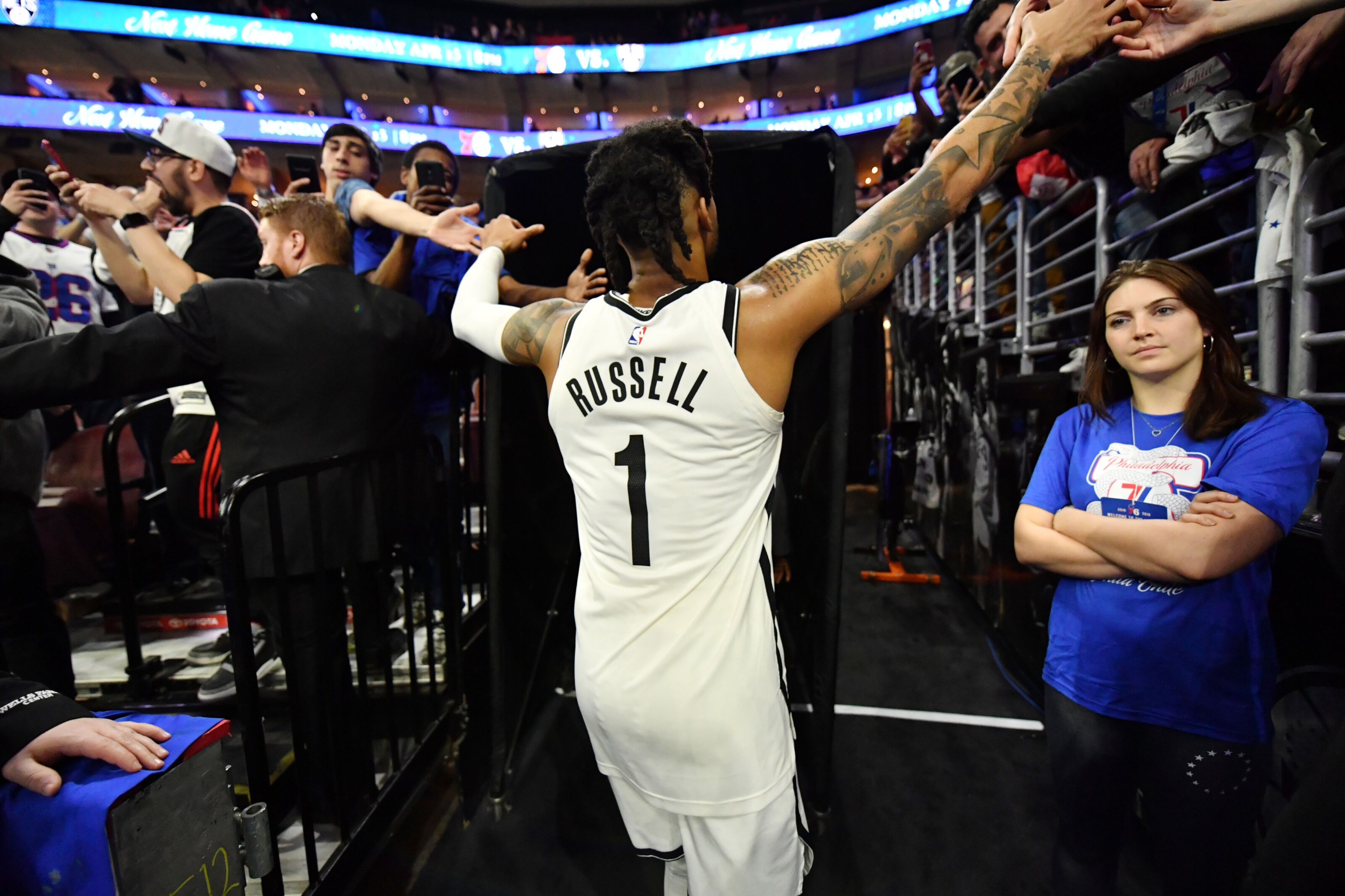 PHILADELPHIA, PA - APRIL 13: D'Angelo Russell #1 of the Brooklyn Nets exits the arena after a game against the Philadelphia 76ers during Game One of Round One of the 2019 NBA Playoffs on April 13, 2019 at the Wells Fargo Center in Philadelphia, Pennsylvania NOTE TO USER: User expressly acknowledges and agrees that, by downloading and/or using this Photograph, user is consenting to the terms and conditions of the Getty Images License Agreement. Mandatory Copyright Notice: Copyright 2019 NBAE (Photo by Jesse D. Garrabrant/NBAE via Getty Images)