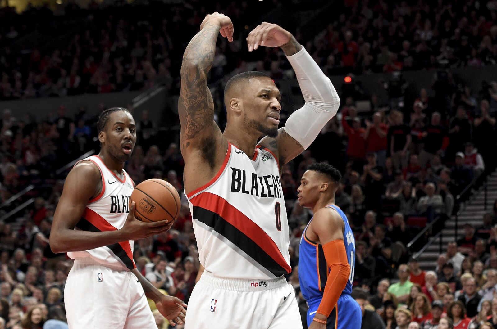 PORTLAND, OR - APRIL 14: Damian Lillard #0 of the Portland Trail Blazers reacts during play against the Oklahoma City Thunder in the first quarter at Moda Center on April 14, 2019 in Portland, Oregon. (Photo by Steve Dykes/Getty Images)