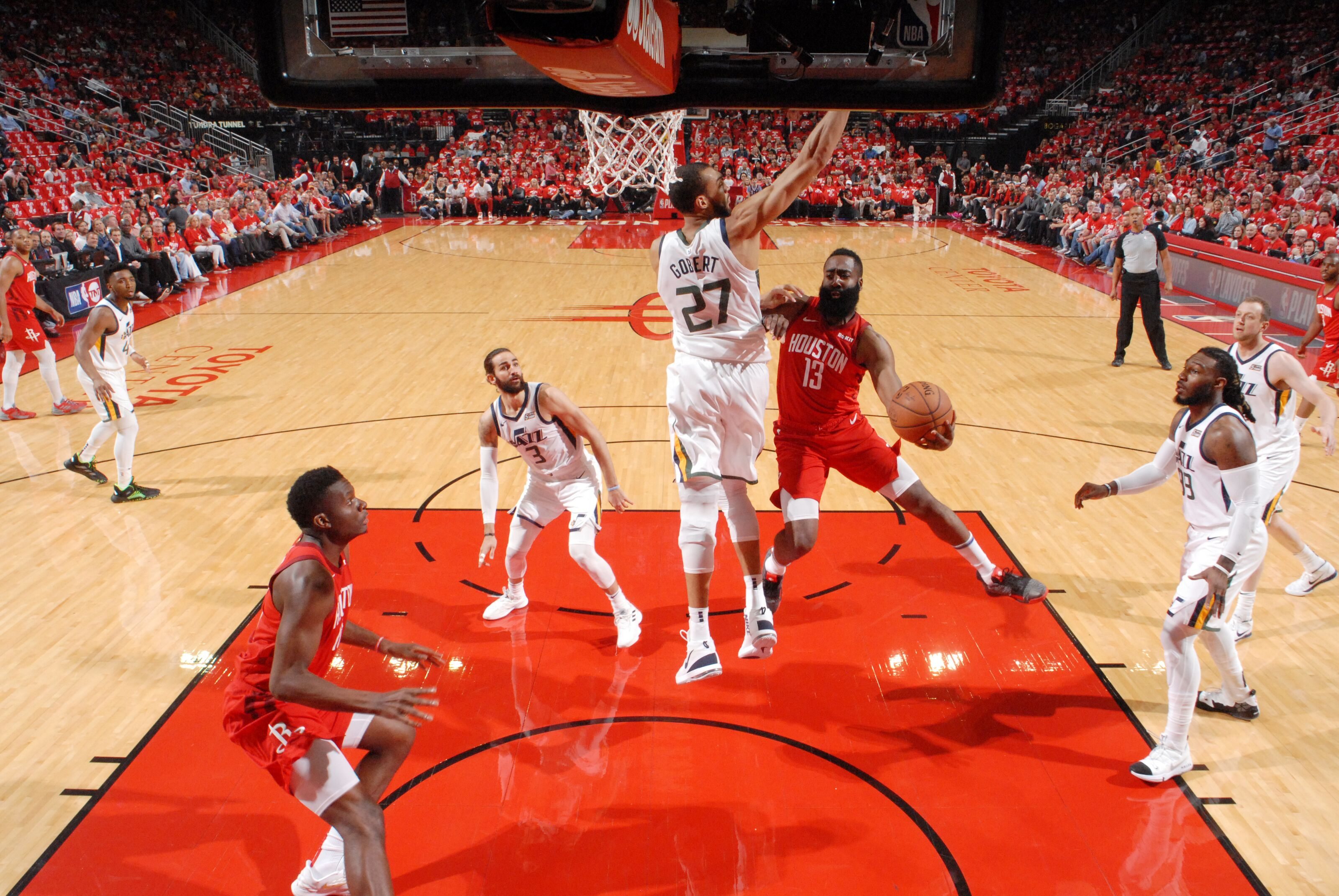 HOUSTON, TX - APRIL 24 : James Harden #13 of the Houston Rockets passes the ball against the Utah Jazz during Game Five of Round One of the 2019 NBA Playoffs on April 24, 2019 at the Toyota Center in Houston, Texas. NOTE TO USER: User expressly acknowledges and agrees that, by downloading and or using this photograph, User is consenting to the terms and conditions of the Getty Images License Agreement. Mandatory Copyright Notice: Copyright 2019 NBAE (Photo by Bill Baptist/NBAE via Getty Images)
