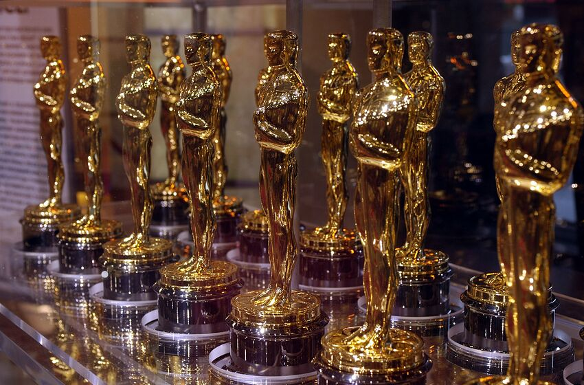 Oscar statuettes that will be presented to winners at an Academy Award presentation are displayed at