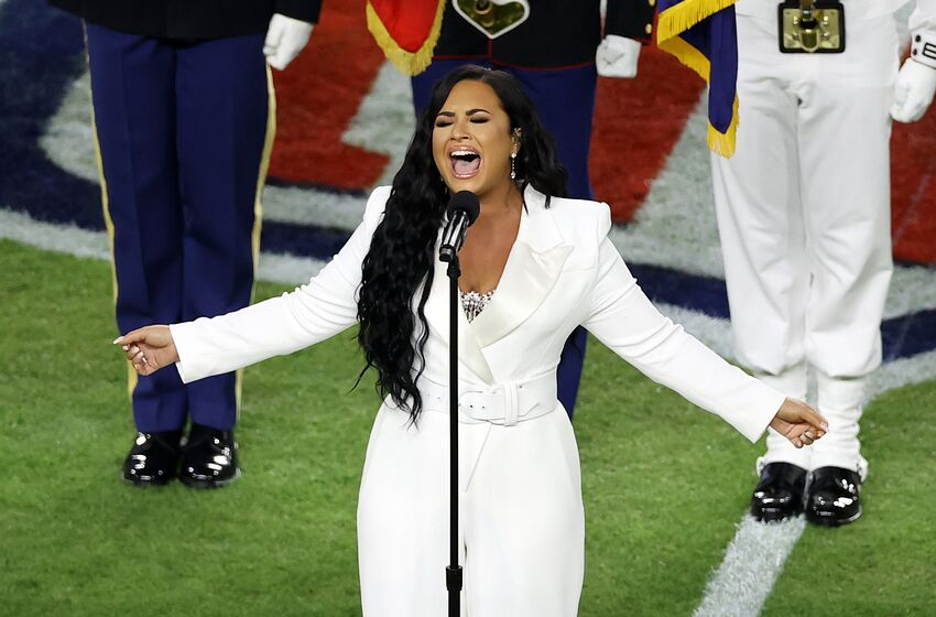 MIAMI, FLORIDA - FEBRUARY 02: Singer Demi Lovato performs the national anthem prior to Super Bowl LIV between the San Francisco 49ers and the Kansas City Chiefs at Hard Rock Stadium on February 02, 2020 in Miami, Florida. (Photo by Elsa/Getty Images)