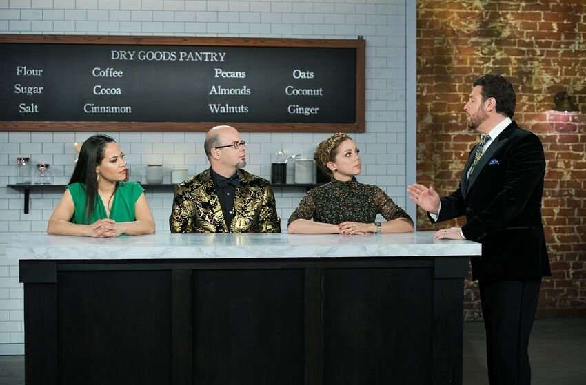 Guest Judge Yolanda Gamp with Judges Jason Smith and Marcela Valladolid and Scott Conant during judging of the Master Challenge, Ultimate Chocolate Cake, Chocolate Crescendo as seen on Best Baker in America, Season 2.