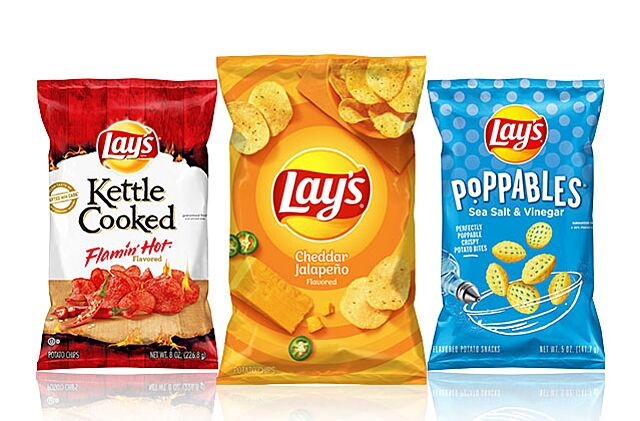 New Lay's flavors, Lay's Kettle Cooked Flamin' Hot, Lay's Cheddar Jalapeno, and Lay's Poppables Sea Salt & Vinegar, photo provided by Lay's