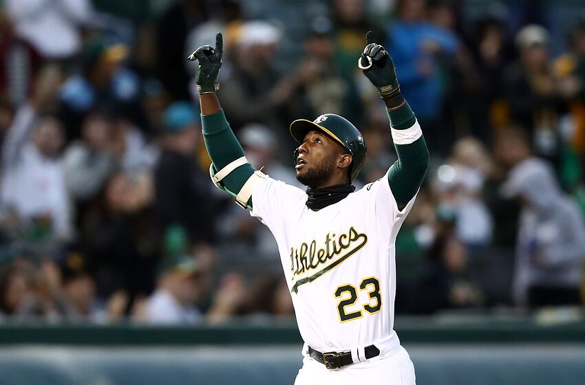 OAKLAND, CALIFORNIA - JUNE 20: Jurickson Profar #23 of the Oakland Athletics reacts as he rounds the bases after he hit a home run in the fifth inning against the Tampa Bay Rays at Ring Central Coliseum on June 20, 2019 in Oakland, California. (Photo by Ezra Shaw/Getty Images)
