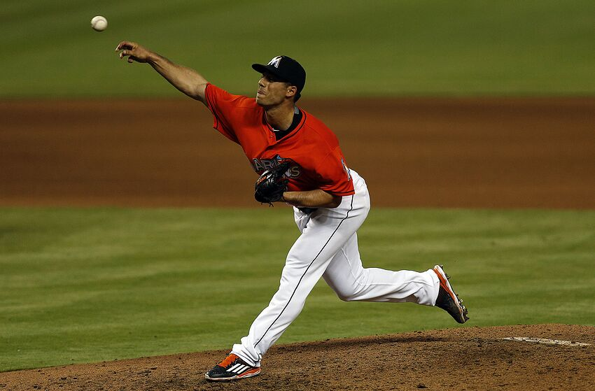 Kyle Barraclough #46 of the Miami Marlins. (Photo by Eliot J. Schechter/Getty Images)