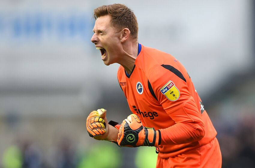 LONDON, ENGLAND - APRIL 06: David Martin of Millwall celebrates following his team's victory in the Sky Bet Championship match between Millwall and West Bromwich Albion at The Den on April 06, 2019 in London, England. (Photo by Harriet Lander/Getty Images)