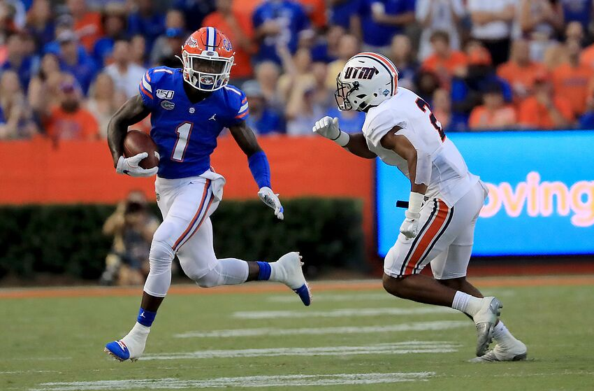 GAINESVILLE, FLORIDA - SEPTEMBER 07: Kadarius Toney #1 of the Florida Gators runs for yardage during the game against the Tennessee Martin Skyhawks at Ben Hill Griffin Stadium on September 07, 2019 in Gainesville, Florida. (Photo by Sam Greenwood/Getty Images)